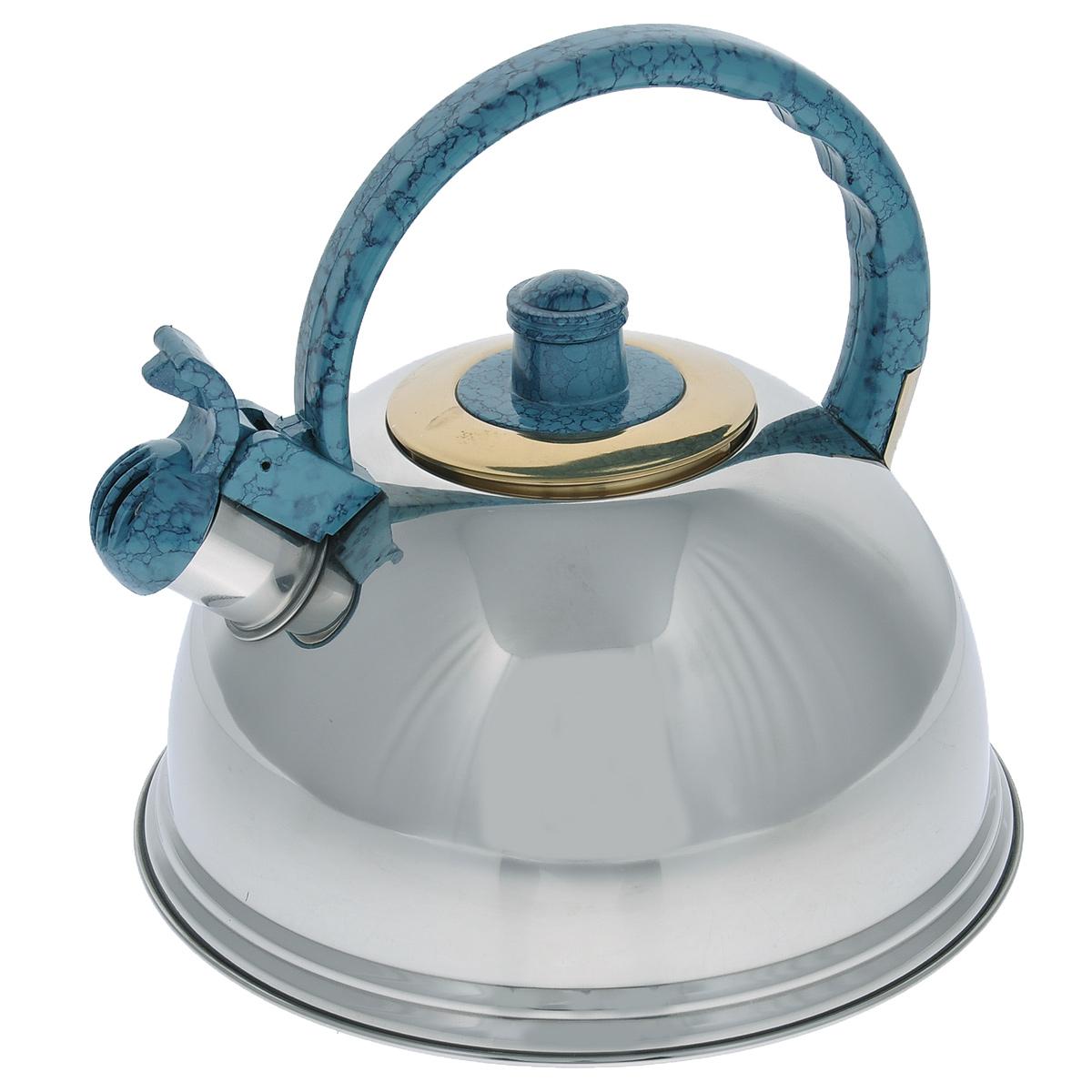 Чайник Mayer & Boch, со свистком, цвет: голубой, 2,7 л. 2359423594Чайник Mayer & Boch выполнен из нержавеющей стали высокой прочности с зеркальной полировкой. Чайник оснащен откидным свистком, который громко оповестит о закипании воды. Удобная эргономичная ручка и крышка выполнены из нейлона. Такой чайник идеально впишется в интерьер любой кухни и станет замечательным подарком к любому случаю. Подходит для всех типов плит, кроме индукционных. Можно мыть в посудомоечной машине. Диаметр чайника по верхнему краю: 8,5 см. Высота чайника (с учетом ручки): 21 см.