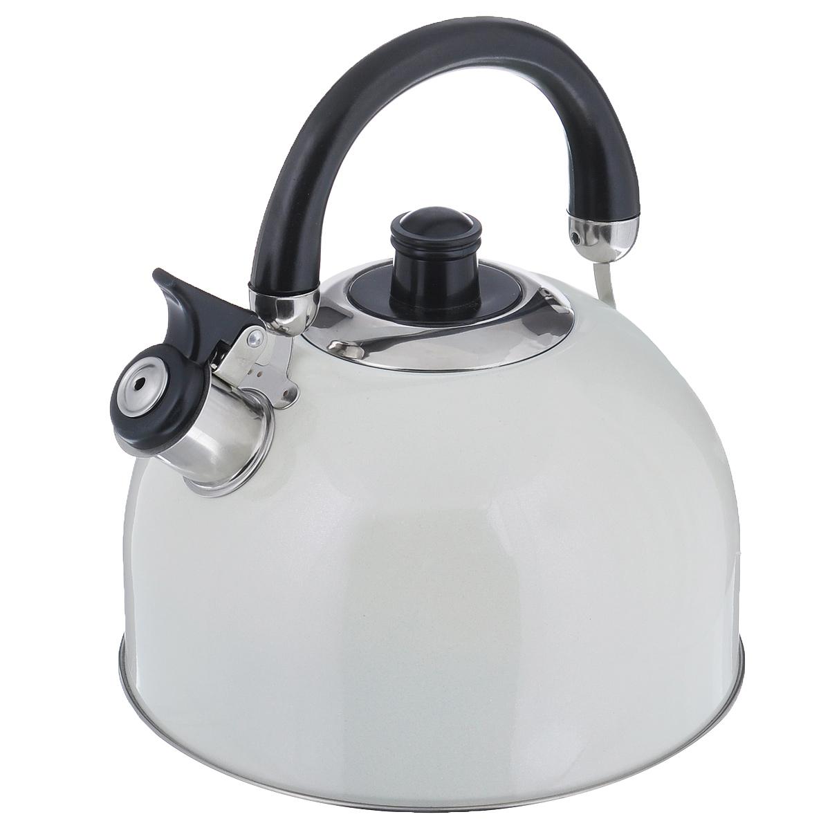 Чайник Mayer & Boch Modern со свистком, цвет: молочный, 2,7 л. 23595-223595-2Чайник Mayer & Boch Modern выполнен из высококачественной нержавеющей стали, что обеспечивает долговечность использования. Внешнее цветное эмалевое покрытие придает приятный внешний вид. Подвижная ручка из бакелита делает использование чайника очень удобным и безопасным. Чайник снабжен свистком и устройством для открывания носика. Можно мыть в посудомоечной машине. Пригоден для всех видов плит, включая индукционные. Высота чайника (без учета крышки и ручки): 11,5 см. Диаметр основания: 20 см.
