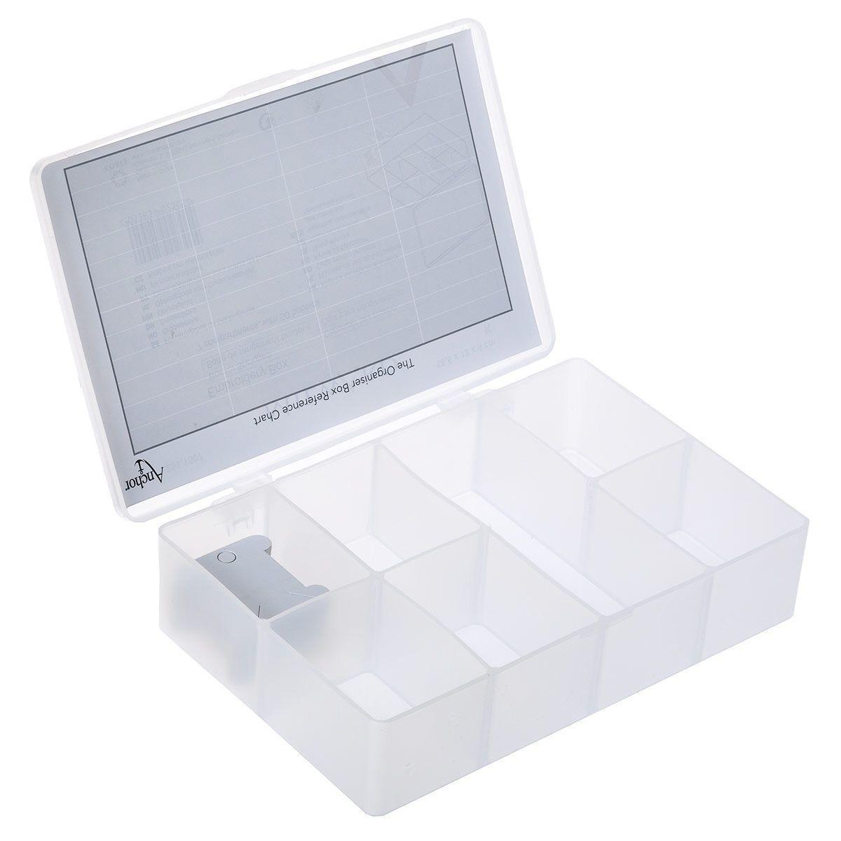 Органайзер для мулине Anchor Brig-org2med, 18,5 см х 12 см х 4 см2511507Органайзер для мулине Anchor Brig-org2med изготовлен из прозрачного пластика. Предназначен для хранения швейных принадлежностей и мулине (в комплекте имеются картонные катушки для ниток). Внутри содержится 7 ячеек: 6 квадратных и 1 прямоугольная. Прозрачная поверхность позволяет видеть содержимое органайзера. Удобный и надежный замок-защелка обеспечивает надежное закрывание крышки. Органайзер легко моется и чистится.