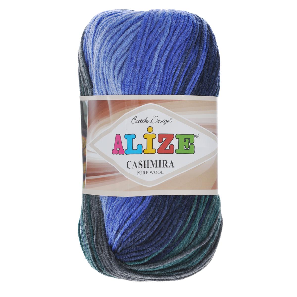 Пряжа для вязания Alize Cashmira Batik, цвет: синий, зеленый, серый (3953), 300 м, 100 г, 5 шт364130_3953Пряжа для вязания Alize Cashmira Batik изготовлена из 100% шерсти. Пряжа упругая, эластичная, тёплая, уютная и не колется, что очень подходит для детей. Тоненькая нитка прекрасно подойдет для вязки демисезонных вещей. Пряжа легко распускается и перевязывается несколько раз, не деформируясь и не влияя на вид изделия. Натуральная шерстяная нить, обеспечивает изделию прекрасную форму. Рекомендуется ручная стирка при температуре 30 °C. Рекомендованные спицы № 3-5, крючок № 2-4. С такой пряжей для ручного вязания вы сможете связать своими руками необычные и красивые вещи.