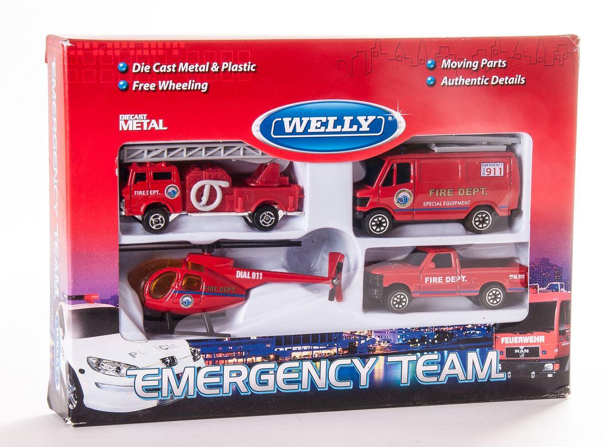 Welly Игровой набор Служба спасения: Пожарная команда, 4 предмета98630-4CИгровой набор Welly Служба спасения: Пожарная команда представляет собой 4 реалистичные модели, выполненные в виде точных копий пожарной техники. Набор включает в себя вертолет и 3 разные машинки. Модели отличаются высоким качеством исполнения и детализации. Корпус моделей выполнен из металла, стекла изготовлены из прочного прозрачного пластика. Колесики машинок и лопасти вертолета вращаются. Ваш ребенок часами будет играть с набором, придумывая различные истории. Порадуйте его таким замечательным подарком!