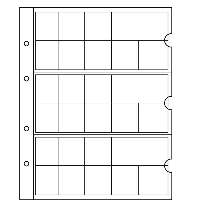 Лист в альбом Numis для евро наборов, на 24 ячейки. Leuchtturm. 338425 (5 листов в упаковке)338425Характеристики: Размер листа: 21 см х 19,5 см Количество листов в упаковке: 5