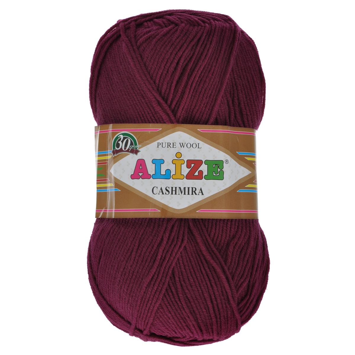 Пряжа для вязания Alize Cashmira, цвет: бордовый (57), 300 м, 100 г, 5 шт364009_57Пряжа для вязания Alize Cashmira изготовлена из 100% шерсти. Пряжа упругая, эластичная, тёплая, уютная и не колется, что очень подходит для детей. Тоненькая нитка прекрасно подойдет для вязки демисезонных вещей. Пряжа легко распускается и перевязывается несколько раз, не деформируясь и не влияя на вид изделия. Натуральная шерстяная нить, обеспечивает изделию прекрасную форму. Рекомендуется ручная стирка при температуре 30 °C. Рекомендованные спицы № 3-5, крючок № 2-4.