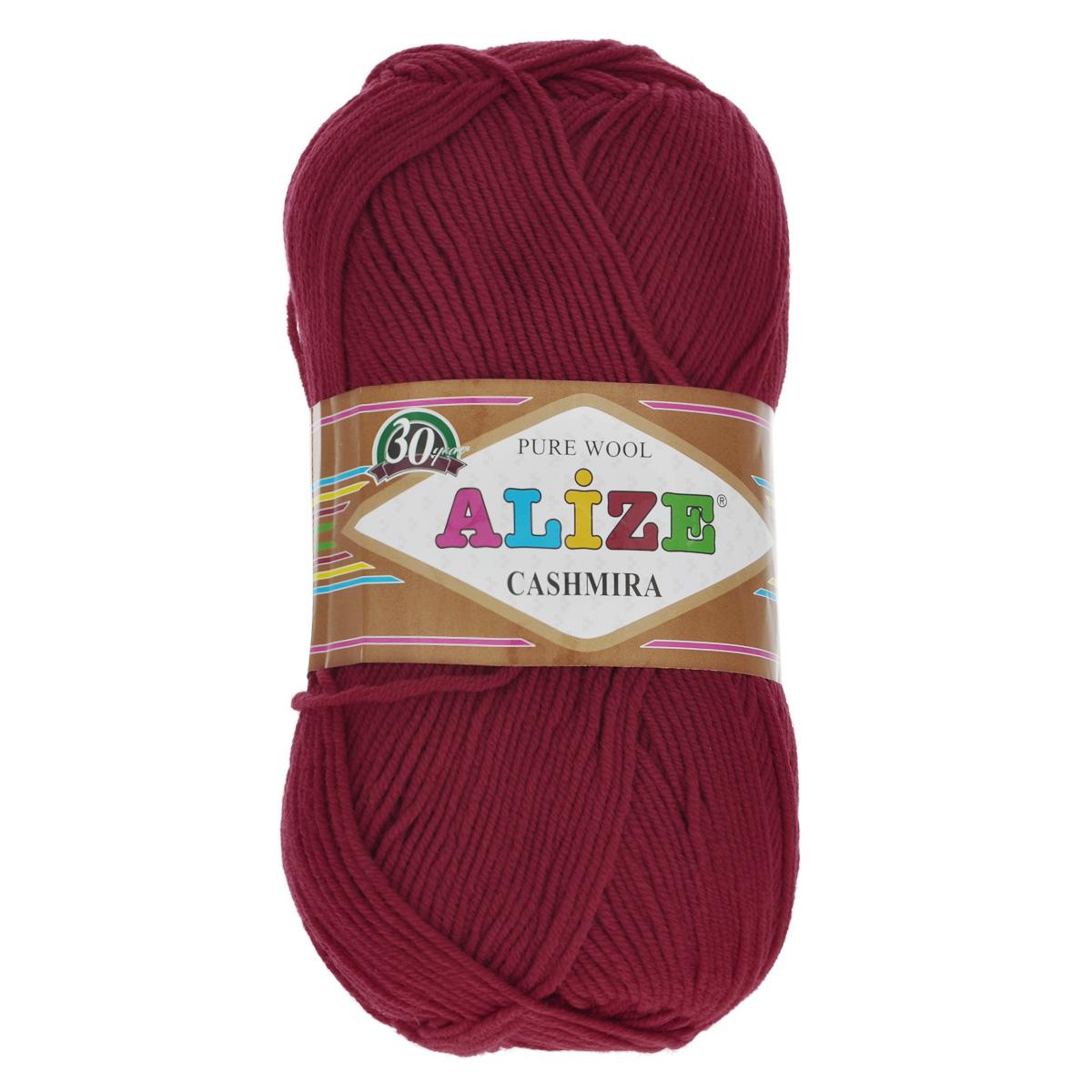 Пряжа для вязания Alize Cashmira, цвет: красный (56), 300 м, 100 г, 5 шт364009_56Пряжа для вязания Alize Cashmira изготовлена из 100% шерсти. Пряжа упругая, эластичная, тёплая, уютная и не колется, что очень подходит для детей. Тоненькая нитка прекрасно подойдет для вязки демисезонных вещей. Пряжа легко распускается и перевязывается несколько раз, не деформируясь и не влияя на вид изделия. Натуральная шерстяная нить, обеспечивает изделию прекрасную форму. Рекомендуется ручная стирка при температуре 30 °C. Рекомендованные спицы № 3-5, крючок № 2-4.