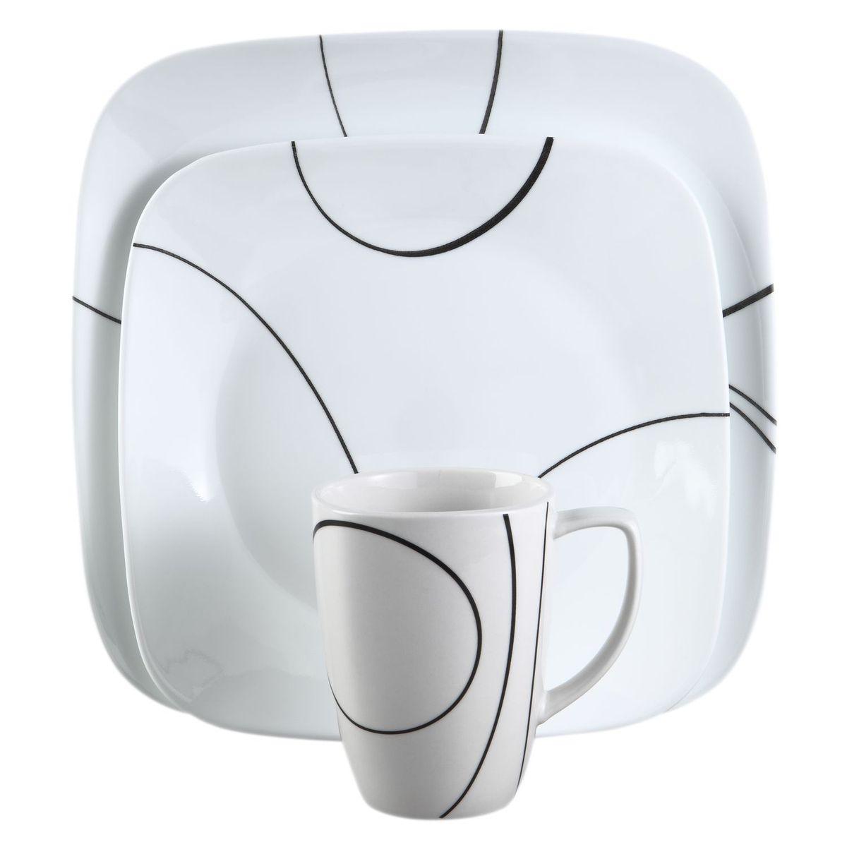 Набор посуды Simple Lines 16пр, цвет: белый с узором1069983Преимуществами посуды Corelle являются долговечность, красота и безопасность в использовании. Вся посуда Corelle изготавливается из высококачественного ударопрочного трехслойного стекла Vitrelle и украшена деколями американских и европейских дизайнеров. Рисунки не стираются и не царапаются, не теряют свою яркость на протяжении многих лет. Посуда Corelle не впитывает запахов и очень долгое время выглядит как новая. Уникальная эмаль, используемая во время декорирования, фактически становится единым целым с поверхностью стекла, что гарантирует долгое сохранение нанесенного рисунка. Еще одним из главных преимуществ посуды Corelle является ее безопасность. В производстве используются только безопасные для пищи пигменты эмали, при производстве посуды не применяется вредный для здоровья человека меламин. Изделия из материала Vitrelle:...