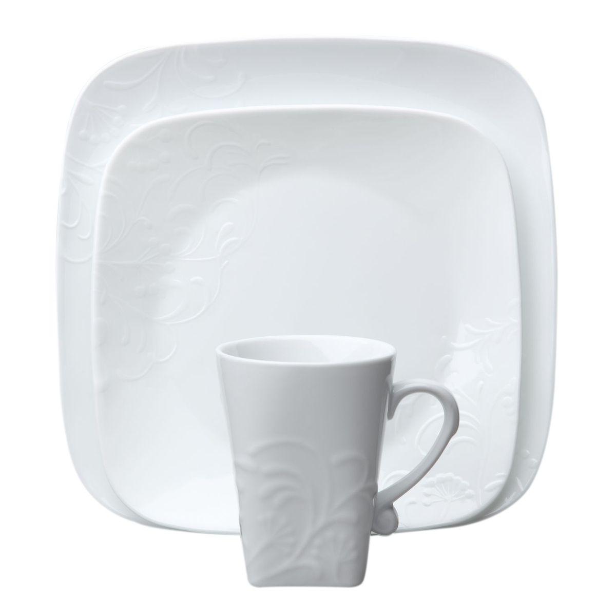 Набор посуды Cherish 16пр, цвет: белый1107902Преимуществами посуды Corelle являются долговечность, красота и безопасность в использовании. Вся посуда Corelle изготавливается из высококачественного ударопрочного трехслойного стекла Vitrelle и украшена деколями американских и европейских дизайнеров. Рисунки не стираются и не царапаются, не теряют свою яркость на протяжении многих лет. Посуда Corelle не впитывает запахов и очень долгое время выглядит как новая. Уникальная эмаль, используемая во время декорирования, фактически становится единым целым с поверхностью стекла, что гарантирует долгое сохранение нанесенного рисунка. Еще одним из главных преимуществ посуды Corelle является ее безопасность. В производстве используются только безопасные для пищи пигменты эмали, при производстве посуды не применяется вредный для здоровья человека меламин. Изделия из материала Vitrelle:...