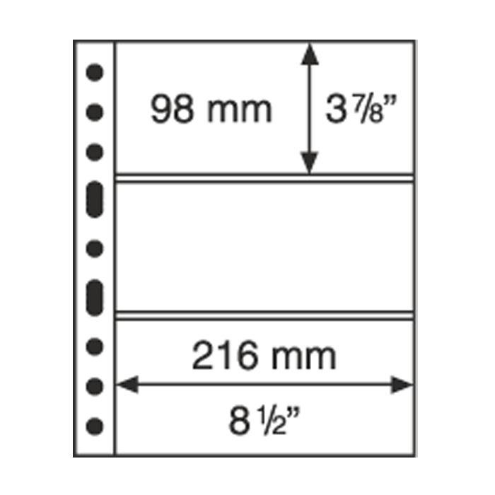 Лист в альбом Grande 3C для бон, на 3 ячейки. Leuchtturm. 308439 (10 листов в упаковке)308439Характеристики: Размер листа: 31,2 см х 24 см Размер ячейки: 21,6 см x 9,8 см Количество листов в упаковке: 10