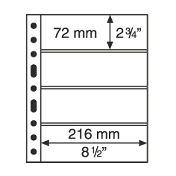 Лист в альбом Grande 4С для бон, на 4 ячейки. Leuchtturm. 316329 (10 листов в упаковке)316329Характеристики: Размер листа: 31,2 см х 24 см Размер ячейки: 21,6 см x 7,2 см Количество листов в упаковке: 10