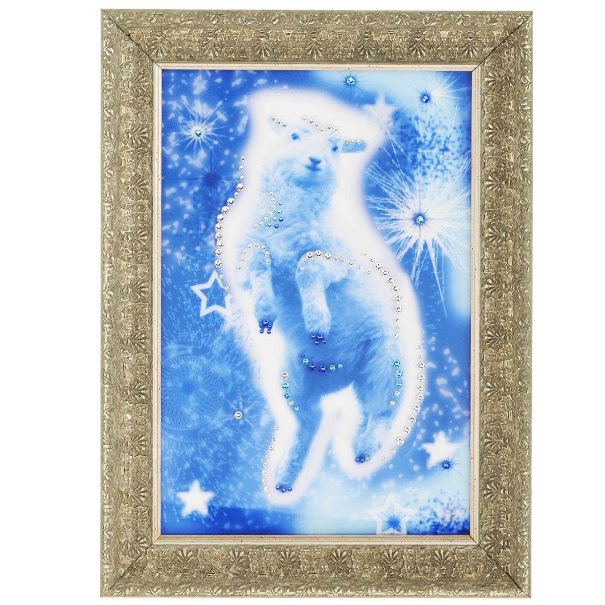 Картина с кристаллами Swarovski Звездная овечка, 29 х 39 см1550Изящная картина в багетной раме, инкрустирована кристаллами Swarovski, которые отличаются четкой и ровной огранкой, ярким блеском и чистотой цвета. Красочное изображение овечки, расположенное под стеклом, прекрасно дополняет блеск кристаллов. С обратной стороны имеется металлическая петелька для размещения картины на стене. Картина с кристаллами Swarovski Звездная овечка элегантно украсит интерьер дома или офиса, а также станет прекрасным подарком, который обязательно понравится получателю. Блеск кристаллов в интерьере, что может быть сказочнее и удивительнее. Картина упакована в подарочную картонную коробку синего цвета и комплектуется сертификатом соответствия Swarovski.