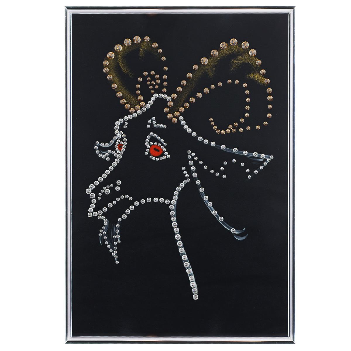 Картина с кристаллами Swarovski Подарок года, 20 х 30 см1542Изящная картина в металлической раме, инкрустирована кристаллами Swarovski, которые отличаются четкой и ровной огранкой, ярким блеском и чистотой цвета. Красочное изображение козла, расположенное под стеклом, прекрасно дополняет блеск кристаллов. С обратной стороны имеется металлическая петелька для размещения картины на стене. Картина с кристаллами Swarovski Подарок года элегантно украсит интерьер дома или офиса, а также станет прекрасным подарком, который обязательно понравится получателю. Блеск кристаллов в интерьере, что может быть сказочнее и удивительнее. Картина упакована в подарочную картонную коробку синего цвета и комплектуется сертификатом соответствия Swarovski.