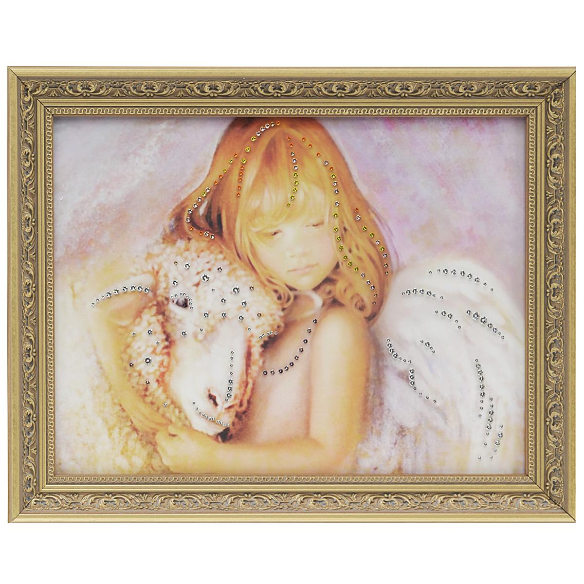 Картина с кристаллами Swarovski Нежность, 47 см х 37 см1549Изящная картина в багетной раме, инкрустирована кристаллами Swarovski, которые отличаются четкой и ровной огранкой, ярким блеском и чистотой цвета. Красочное изображение овечки, расположенное под стеклом, прекрасно дополняет блеск кристаллов. С обратной стороны имеется металлическая петелька для размещения картины на стене. Картина с кристаллами Swarovski Нежность элегантно украсит интерьер дома или офиса, а также станет прекрасным подарком, который обязательно понравится получателю. Блеск кристаллов в интерьере, что может быть сказочнее и удивительнее. Картина упакована в подарочную картонную коробку синего цвета и комплектуется сертификатом соответствия Swarovski.