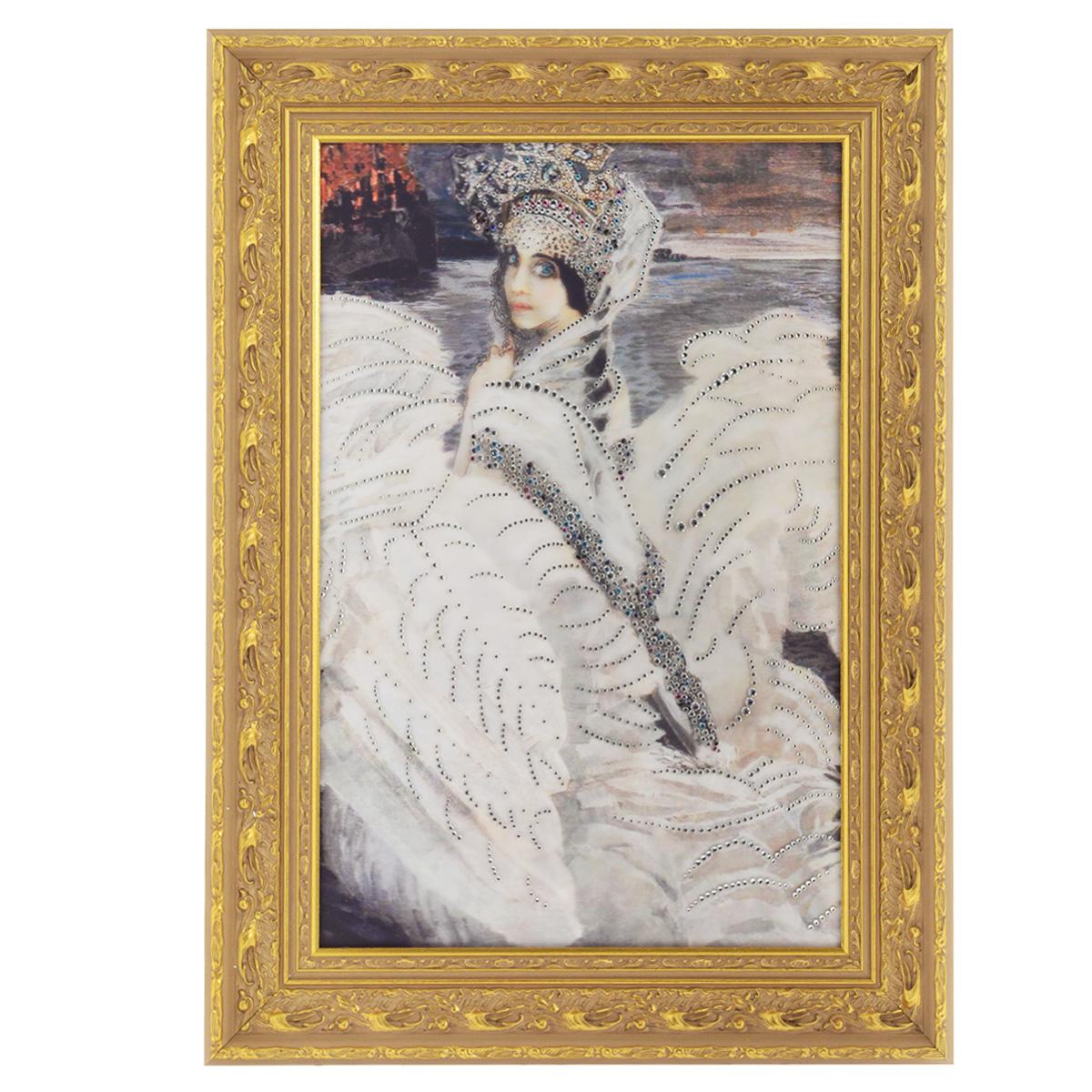 Картина с кристаллами Swarovski Царевна-Лебедь, 59,5 х 81 см1387Изящная картина в багетной раме, инкрустирована кристаллами Swarovski, которые отличаются четкой и ровной огранкой, ярким блеском и чистотой цвета. Красочное изображение прекрасной Царевны-Лебедь, расположенное под стеклом, прекрасно дополняет блеск кристаллов. С обратной стороны имеется металлическая проволока для размещения картины на стене. Картина с кристаллами Swarovski Царевна-Лебедь элегантно украсит интерьер дома или офиса, а также станет прекрасным подарком, который обязательно понравится получателю. Блеск кристаллов в интерьере, что может быть сказочнее и удивительнее. Картина упакована в подарочную картонную коробку синего цвета и комплектуется сертификатом соответствия Swarovski.