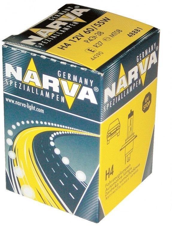 Лампа автомобильная Narva H4 12V-60/55W (P43t) 4888148881Галогенные лампы NARVA пригодны для всех современных автомобилей, оборудованных фарами головного света, предусматривающими использование галогенных ламп. Эти лампы могут использоваться круглый год в любых погодных условиях Напряжение: 12 вольт