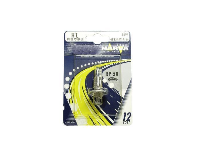 Лампа автомобильная Narva RP50 H1 12V-55W (P14,5s) (блистер 1шт.) 4833448334 (бл.1)Лампы фар - галогенные, автомобильные, напряжение 12 Вольт, номинальная мощность 55 Ватт, с металлическим цоколем (исполнение патрона P14,5s). Освещение универсальное, типы ECE. Основная (головная) фара (передняя оптика, штатные фары) без и с автоматической системой стабилизации (механический (ручной) корректор, электрический корректор, автоматический корректор) с функциями: лампа дальнего света, лампа противотуманного света. Противотуманная фара (противотуманка, фара в бампер, штатная оптика) с функцией: лампа противотуманного света. В соответствии с каталогом производителя продукции и конструктивной спецификацией производителя автомобиля. Напряжение: 12 вольт
