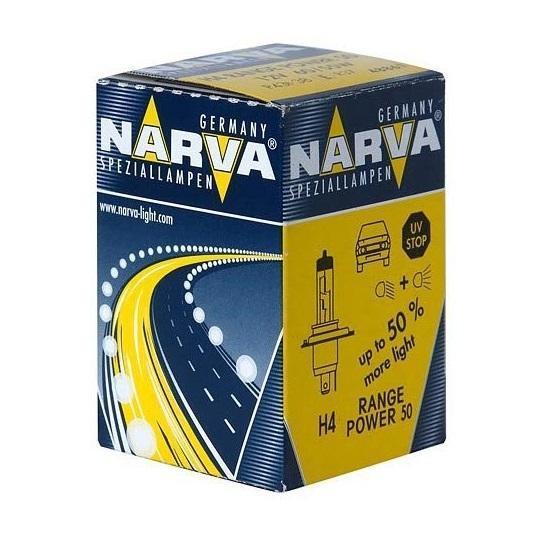 Лампа автомобильная Narva RP50 H4 12V-60/55W (P43t) (1шт) 4886148861 (бл.1)Лампы головного света, противотуманные лампы и фары-прожекторы для легковых автомобилей, грузовиков и автобусов; освещают дорогу на 50% лучше, чем стандартные лампы. Автолампы Range Power 50+ гарантируют безопасность, особенно в ночное время. Напряжение: 12 вольт