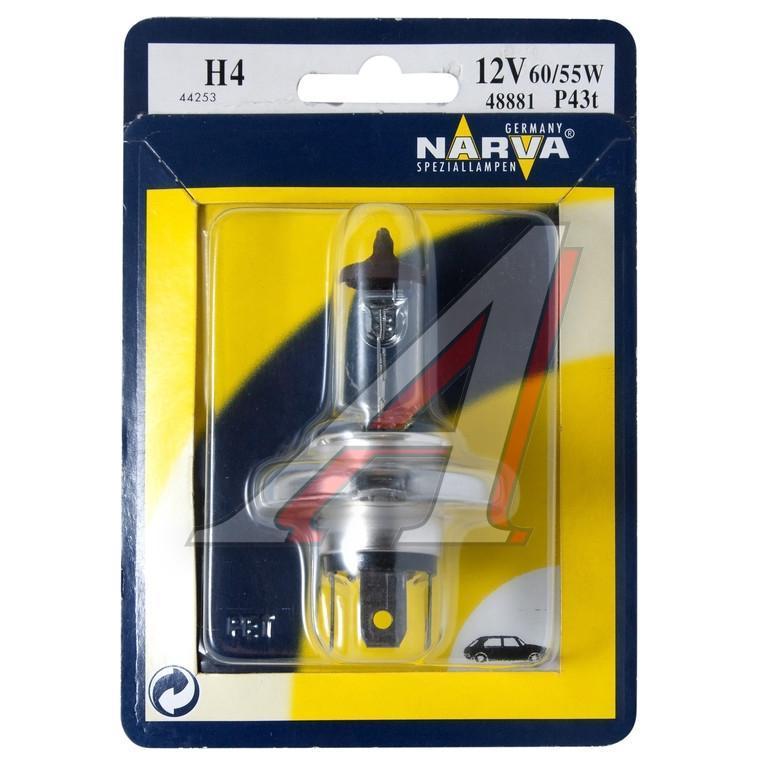 Лампа автомобильная Narva H4 12V-60/55W (P43t) (блистер 1шт) 48881