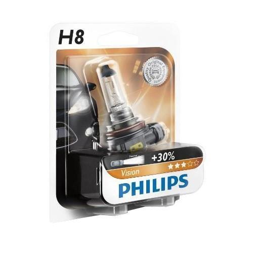 Лампа автомобильная галогенная Philips Vision, для фар, цоколь H8 (PGJ19-1), 12V, 35W12360B1 (бл.)Автомобильная галогенная лампа Philips Vision произведена из запатентованного кварцевого стекла с УФ фильтром Philips Quartz Glass. Кварцевое стекло Philips в отличие от обычного твердого стекла выдерживает гораздо большее давление смеси газов внутри колбы, что препятствует быстрому испарению вольфрама с нити накаливания. Кварцевое стекло выдерживает большой перепад температур, при попадании влаги на работающую лампу изделие не взрывается и продолжает работать. Лампы Philips Vision дают на 30% больше света по сравнению со стандартными лампами. Они создают превосходный световой поток, отличаются приемлемой ценой и соответствуют стандартам качества для оригинального оборудования. Благодаря улучшенному распределению света лампы Philips Vision способны освещать дорогу на большем расстоянии, повышая безопасность и комфорт вождения. Автомобильные галогенные лампы Philips удовлетворят все нужды автомобилистов: дальний свет, ближний свет, передние противотуманные фары,...