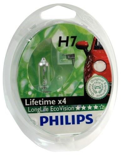 Галогенная автомобильная лампа Philips LongLife EcoVision H7 12V-55W увелич. срок службы 2шт. 12972LLECOS2
