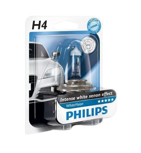 Лампа автомобильная галогенная Philips WhiteVision, для фар, цоколь H4 (P43t), 12V, 60/55W12342WHVB1 (бл.)Галогенная лампа для автомобильных фар Philips WhiteVision произведена из запатентованного кварцевого стекла с УФ фильтром Philips Quartz Glass. Кварцевое стекло Philips в отличие от обычного твердого стекла выдерживает гораздо большее давление смеси газов внутри колбы, что препятствует быстрому испарению вольфрама с нити накаливания. Кварцевое стекло выдерживает большой перепад температур, при попадании влаги на работающую лампу изделие не взрывается и продолжает работать. Лампы Philips WhiteVision излучают интенсивный белый свет с ксеноновым эффектом, что создает идеальные условия для вождения в ночное время. Благодаря повышенной яркости и цветовой температуре до 4300К лампы мгновенно рассеивают темноту: яркость чистого белого света увеличена на 40%. Повышенный уровень безопасности: более длинный световой пучок и на 60% больше света. Это обеспечивает лучшую видимость на дороге и позволяет предотвращать потенциально аварийные ситуации. Обладая цветовой температурой...
