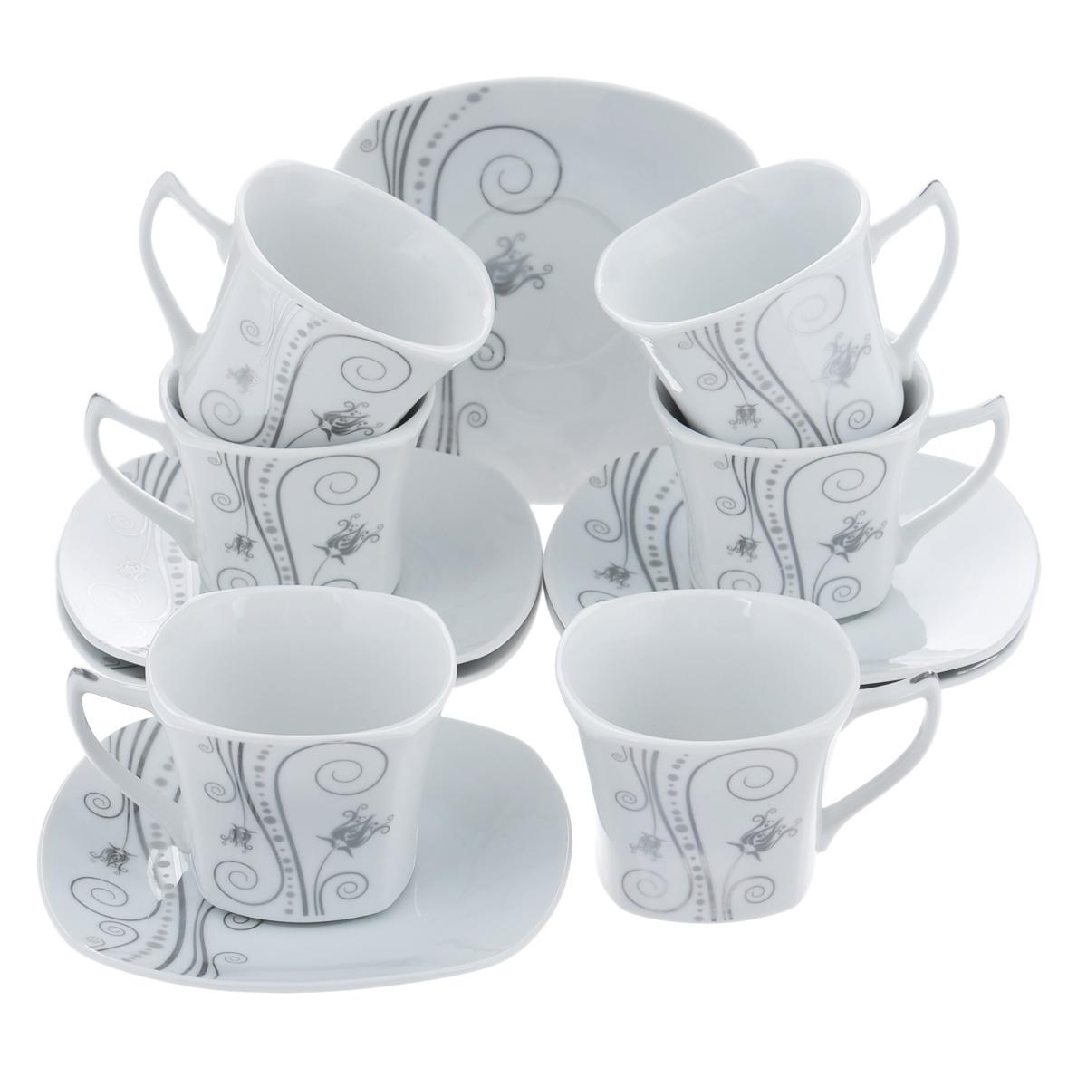Набор чайный Bekker, 12 предметов. BK-5983BK-5983Чайный набор Bekker состоит из шести чашек и шести блюдец. Предметы набора изготовлены из высококачественного фарфора белого цвета и украшены серебристой эмалью. Изящный орнамент придает набору стильный внешний вид. Чайный набор роскошного дизайна украсит интерьер кухни. Прекрасно подойдет как для торжественных случаев, так и для ежедневного использования. Набор упакован в подарочную картонную коробку золотистого цвета. Подходит для мытья в посудомоечной машине. Объем чашки: 150 мл. Размер чашки (по верхнему краю): 8 см х 8 см. Высота чашки: 6,5 см. Размер блюдца: 14 см х 14 см.