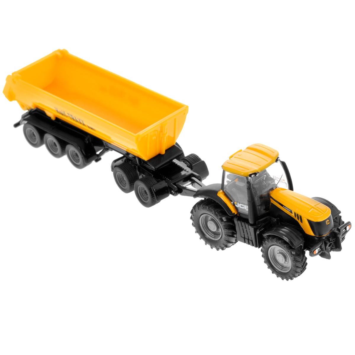 Siku Трактор JCB 8250 с прицепом-кузовом1858Коллекционная модель Siku Трактор с прицепом-кузовом выполнена в виде точной копии трактора с прицепом в масштабе 1/87. Такая модель понравится не только ребенку, но и взрослому коллекционеру и приятно удивит вас высочайшим качеством исполнения. Корпус трактора и шасси прицепов выполнены из металла, кузов прицепа и кабина трактора из пластика, а стекла кабины трактора из прозрачного пластика. Прицеп кузова прицепляется к трактору с помощью дополнительного прицепа с седельным сцепным устройством. Кабина трактора снимается. Кузов прицепа опрокидывается для выгрузки, задний борт прицепа открывается. Колесики модели вращаются. Коллекционная модель отличается великолепным качеством исполнения и детальной проработкой, она станет не только интересной игрушкой для ребенка, интересующегося агротехникой, но и займет достойное место в коллекции.