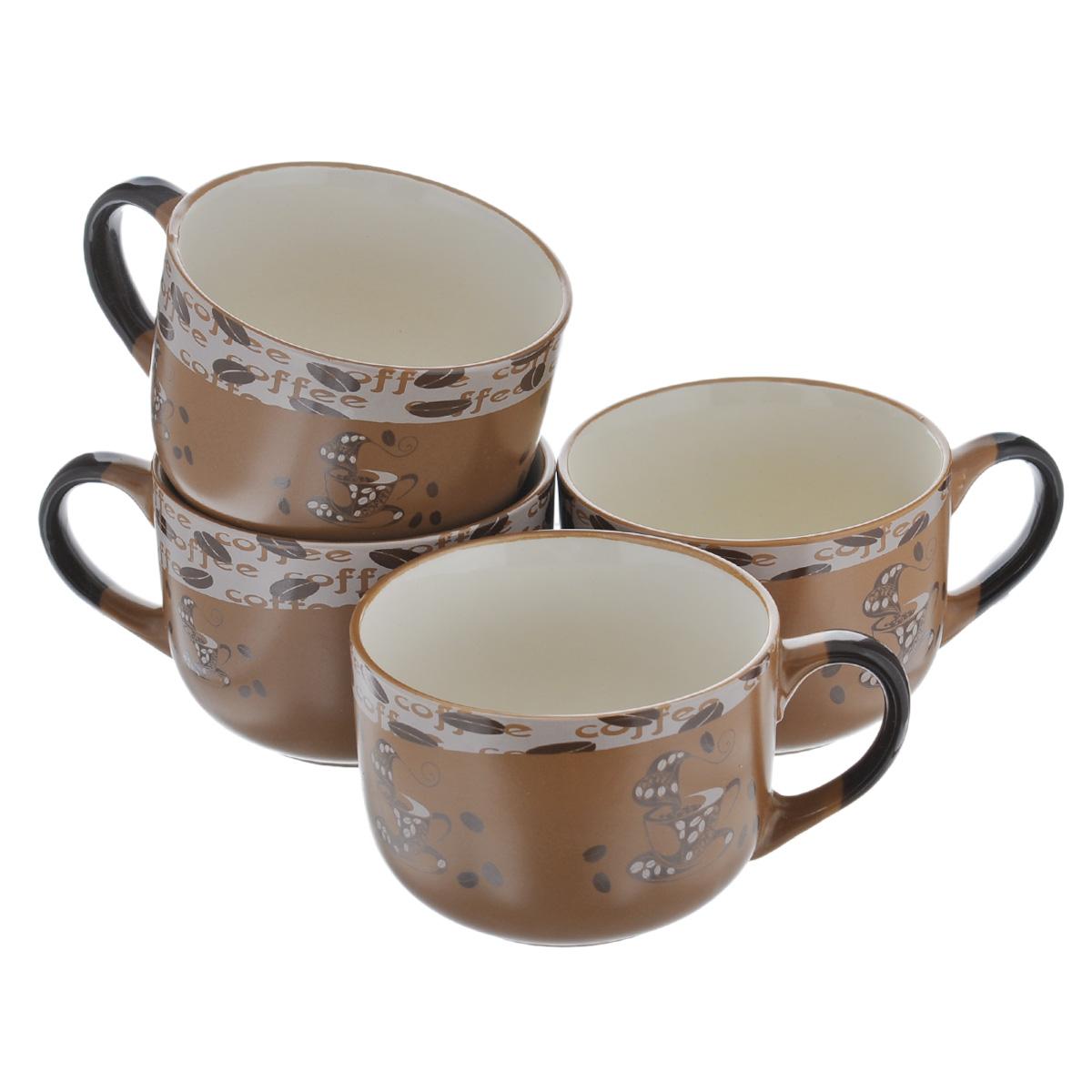 Набор супниц Loraine, цвет: коричневый, 650 мл, 4 шт23552Набор Loraine состоит из четырех супниц, выполненных из высококачественной глазурованной керамики. Внешняя поверхность украшена изображением чашек кофе и кофейных зерен, внутренняя поверхность - бежевого цвета. Супницы оснащены ручками. Ровная, идеально гладкая поверхность легко моется и обеспечивает длительный срок службы. Красивый и функциональный набор супниц Loraine оригинально дополнит обеденную сервировку стола и станет незаменимым на любой кухне. Подходит для подачи супов, каш, хлопьев и много другого. Диаметр (по верхнему краю): 12 см. Высота стенки супницы: 9 см.