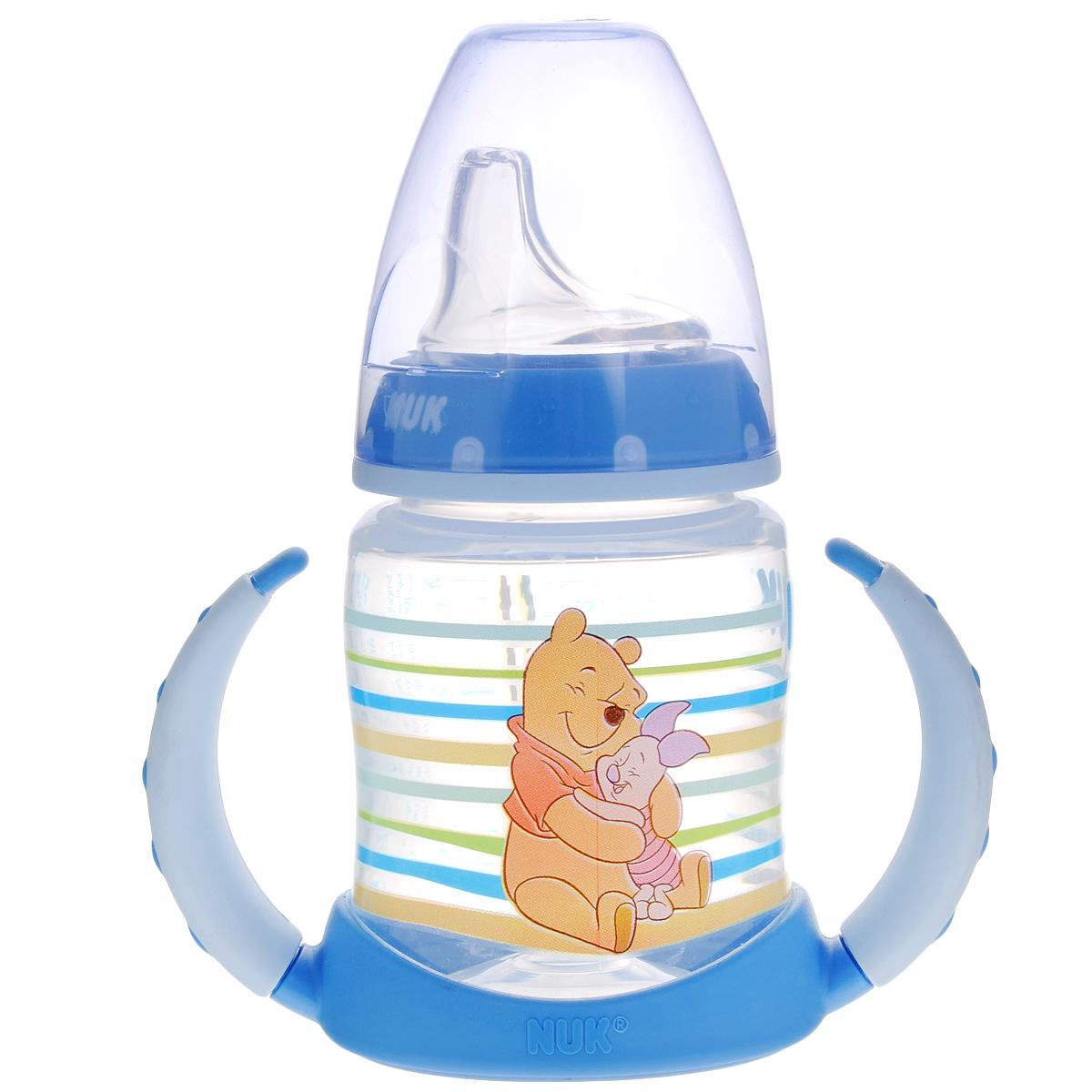 Бутылочка обучающая для питья NUK Дисней. First Choice, с силиконовой насадкой, цвет: голубой, 150 мл, от 6 до 18 месяцев