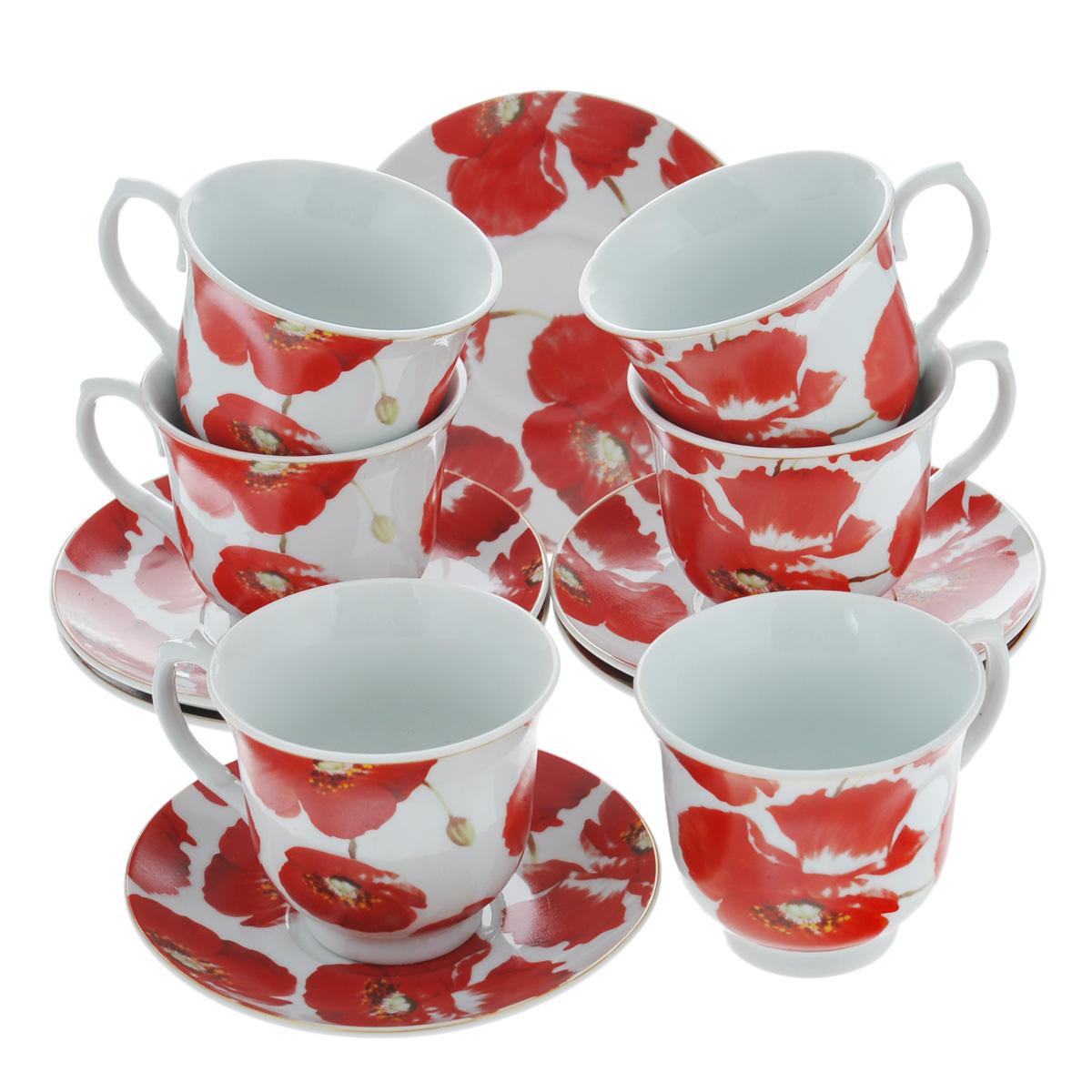 Набор чайный Bekker, 12 предметов. BK-5977BK-5977Чайный набор Bekker состоит из шести чашек и шести блюдец. Предметы набора изготовлены из высококачественного фарфора белого цвета и украшены ярким изображением красных маков. Чайный набор яркого и в тоже время лаконичного дизайна украсит интерьер кухни и сделает ежедневное чаепитие настоящим праздником. Набор упакован в круглую подарочную картонную коробку золотистого цвета. Подходит для мытья в посудомоечной машине. Объем чашки: 220 мл. Диаметр чашки (по верхнему краю): 9 см. Высота чашки: 7,5 см. Диаметр блюдца: 14 см.