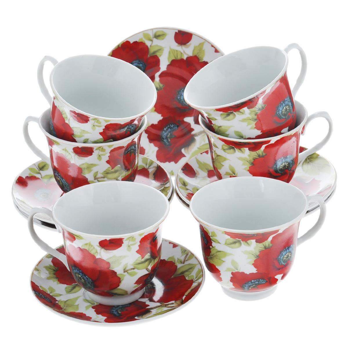 Набор чайный Bekker, 12 предметов. BK-5976BK-5976Чайный набор Bekker состоит из шести чашек и шести блюдец. Предметы набора изготовлены из высококачественного фарфора белого цвета и украшены ярким изображением красных маков. Чайный набор яркого и в тоже время лаконичного дизайна украсит интерьер кухни и сделает ежедневное чаепитие настоящим праздником. Набор упакован в подарочную картонную коробку золотистого цвета. Подходит для мытья в посудомоечной машине.