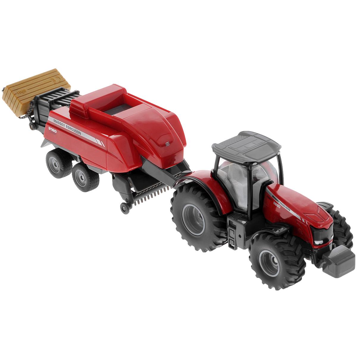 Siku Трактор Massey-Ferguson с кипоукладчиком1951Коллекционная модель Siku Трактор с кипоукладчиком выполнена в виде точной копии трактора с кипоукладчиком в масштабе 1/50. Такая модель понравится не только ребенку, но и взрослому коллекционеру и приятно удивит вас высочайшим качеством исполнения. Корпус трактора и шасси кипоукладчика выполнены из металла, кузов кипоукладчика и кабина трактора из пластика, а стекла кабины трактора из прозрачного пластика. В комплект входит брикет сенаКузов кипоукладчика прицепляется к трактору с помощью дополнительного прицепа с седельным сцепным устройством. Кабина трактора снимается. Колесики модели вращаются. Коллекционная модель отличается великолепным качеством исполнения и детальной проработкой, она станет не только интересной игрушкой для ребенка, интересующегося агротехникой, но и займет достойное место в коллекции.