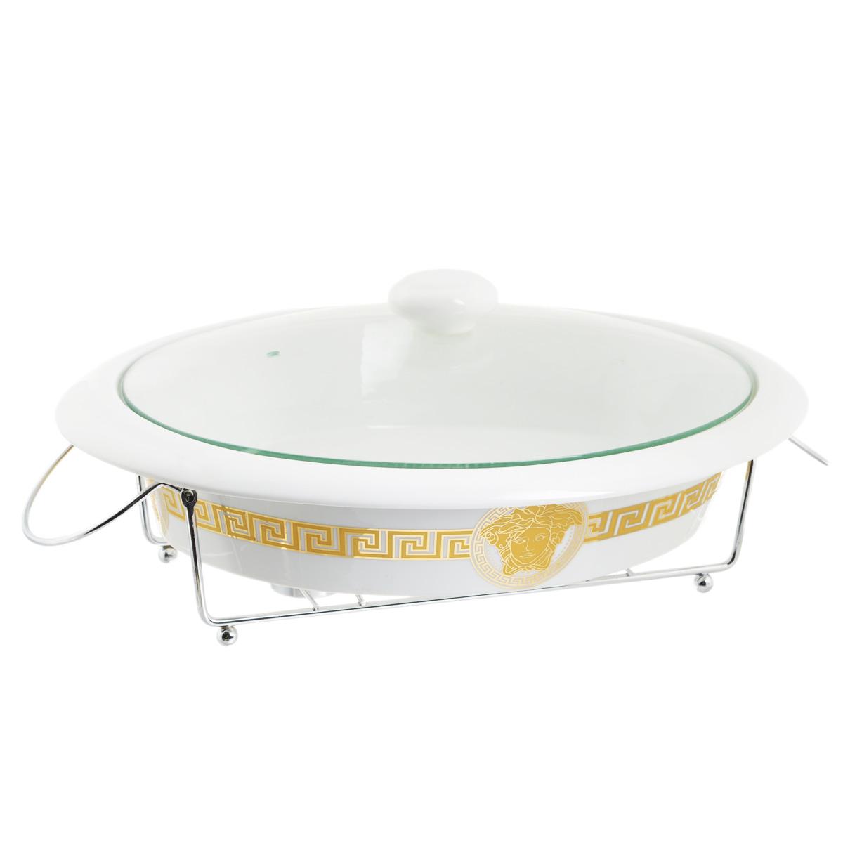 Супница Mayer & Boch с крышкой, на подставке, 2,3 л. 2421924219Супница Mayer & Boch, изготовленная из жаропрочной керамики, подходит для любого вида пищи. Изделие декорировано оригинальным орнаментом. В комплект входит стеклянная крышка и металлическая подставка с местом для 2 свечей. Изделие идеально подходит для приготовления пищи, разогрева блюд и подачи на стол. Материал не содержит свинца и кадмия. С такой супницей вы всегда сможете порадовать своих близких оригинальным блюдом. Форму можно использовать в духовке и холодильнике. Можно мыть в посудомоечной машине. Размер супницы (с учетом ручек): 38,5 см х 29,5 см. Высота стенок: 7 см. Размер подставки: 33 см х 26 см х 9 см. Объем: 2,3 л.
