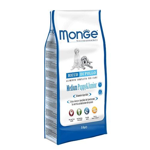 Корм сухой Monge для щенков средних пород, 15 кг70004237Сухой корм Monge - это полноценный рацион для щенков средних пород. Щенки средних пород возрастом до 12 месяцев, а так же беременные и кормящие собаки, могут получать из данного корма всю энергетическую потребность, необходимую для нормального развития. Все ингредиенты, используемые для производства данного корма, обеспечивают максимальную поддержку правильного развития вашего щенка. Корм содержит глюкозамин и хондроитин, для обеспечения здоровых костей и суставов, чтобы ваш щенок рос сильным и здоровым. Корм имеет оптимальное соотношение жирных кислот Омега-3 и Омега-6. Состав: куриное мясо (свежее мин. 10%, обезвоженное 32%), рис (мин. 27%), кукуруза, куриное масло, свекольный жом, овес, дрожжи, яичный крахмал, мука сельди, рыбий жир, экстракт Юкки Шидигера, цистин, морские водоросли, фруктоолигосахариды 528 мг/кг, маннан-олигосахариды 528 мг/кг, хондроитин сульфат 55 мг/кг, метилсульфонилметан 80 мг/кг, глюкозамин 80 мг/кг. Анализ:...