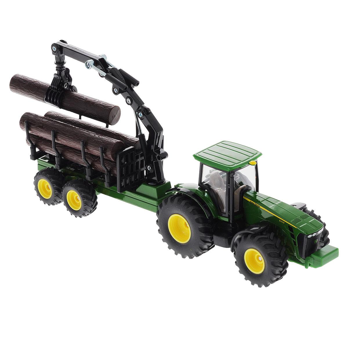 Siku Трактор-лесовоз John Deere 84301954Коллекционная модель Siku Трактор с прицепом-кузовом выполнена в виде точной копии трактора с прицепом в масштабе 1/50. Такая модель понравится не только ребенку, но и взрослому коллекционеру и приятно удивит вас высочайшим качеством исполнения. Корпус трактора и шасси прицепов выполнены из металла, кабина трактора из пластика, а стекла кабины трактора из прозрачного пластика. Прицеп кузова прицепляется к трактору с помощью дополнительного прицепа с седельным сцепным устройством. Кабина трактора снимается. Колёса выполнены из резины и вращаются. Передняя часть погрузчика поворачивается, стрела и ковш поднимаются и опускаются. Коллекционная модель отличается великолепным качеством исполнения и детальной проработкой, она станет не только интересной игрушкой для ребенка, интересующегося агротехникой, но и займет достойное место в коллекции.
