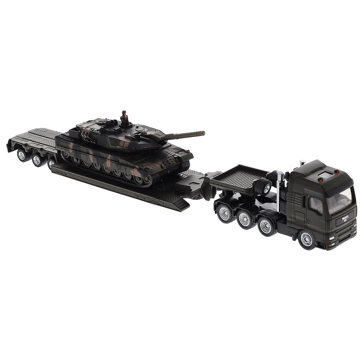 Siku Тягач MAN с танком на платформе1872Коллекционная модель Siku Тягач с танком выполнена в виде точной копии тягача с танком в масштабе 1/87. Такая модель понравится не только ребенку, но и взрослому коллекционеру и приятно удивит вас высочайшим качеством исполнения. Кабина, корпус тягача, платформа прицепа и танк выполнены из металла. Платформа прицепа прицепляется к тягачу с помощью дополнительного прицепа с седельным сцепным устройством. Колесики модели вращаются. Коллекционная модель отличается великолепным качеством исполнения и детальной проработкой, она станет не только интересной игрушкой для ребенка, интересующегося агротехникой, но и займет достойное место в коллекции.