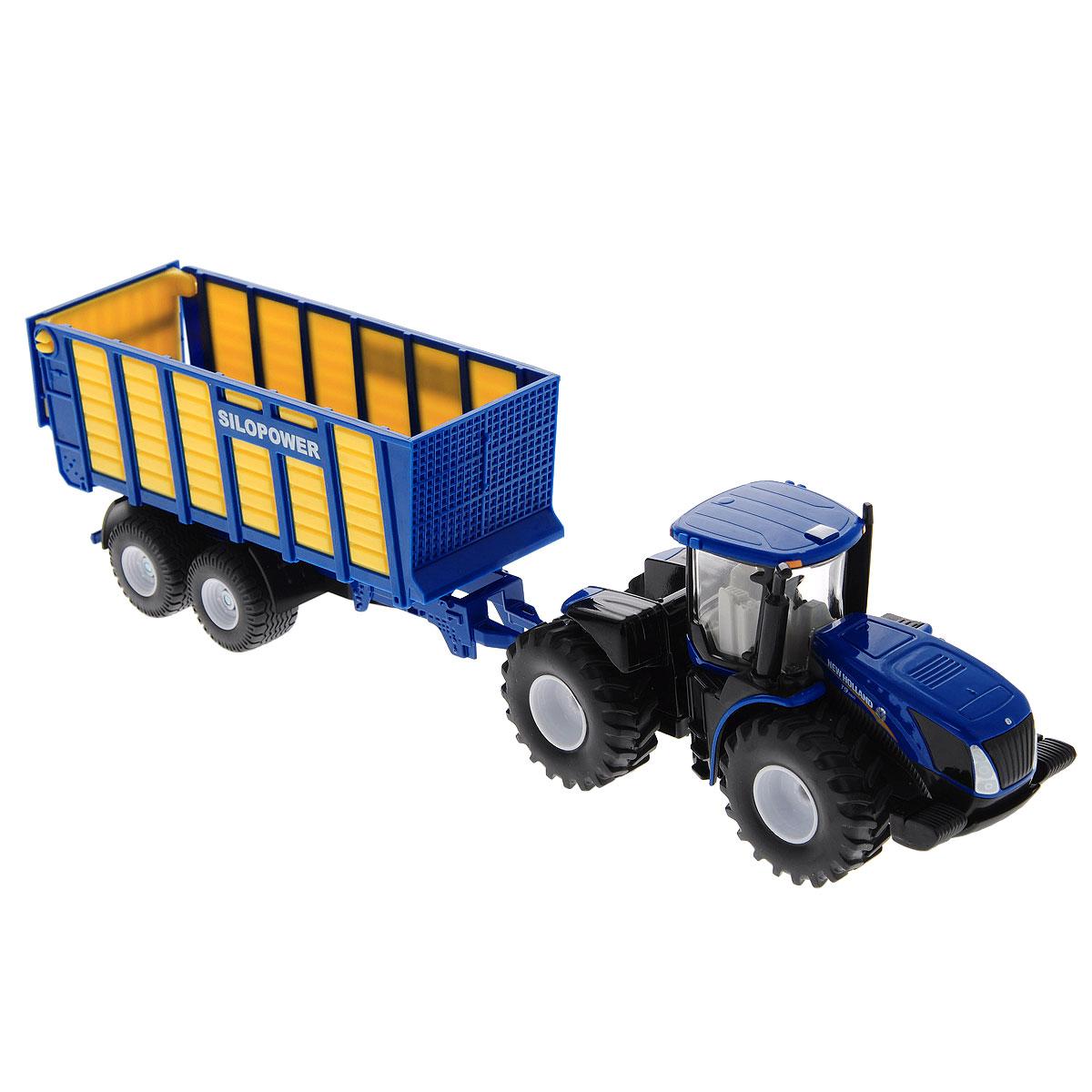 Siku Трактор New Holland T с прицепом1947Коллекционная модель Siku Трактор с прицепом выполнена в виде точной копии трактора с прицепом в масштабе 1/50. Такая модель понравится не только ребенку, но и взрослому коллекционеру и приятно удивит вас высочайшим качеством исполнения. Корпус трактора и шасси прицепов выполнены из металла, кузов прицепа и кабина трактора из пластика, а стекла кабины трактора из прозрачного пластика. Прицеп кузова прицепляется к трактору с помощью дополнительного прицепа с седельным сцепным устройством. Задний борт прицепа открывается. Колесики модели вращаются. Коллекционная модель отличается великолепным качеством исполнения и детальной проработкой, она станет не только интересной игрушкой для ребенка, интересующегося агротехникой, но и займет достойное место в коллекции.