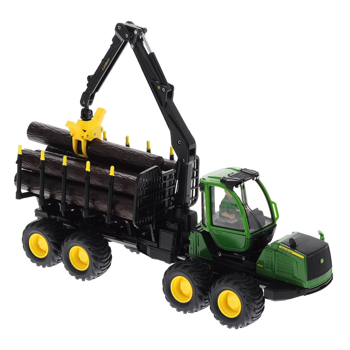 Siku Лесовоз John Deere Forwarder4061Коллекционная модель Siku John Deere Forwarder выполнена в виде точной копии укладчика бревен с кузовом и захватом для бревен в масштабе 1/32. Такая модель понравится не только ребенку, но и взрослому коллекционеру и приятно удивит вас высочайшим качеством исполнения. Корпус трактора выполнен из металла, кабина трактора из пластика, стекла из прозрачного пластика, колеса прорезинены. Бревна выполнены из пластика. Кабина вращается вокруг своей оси. Передние колеса поворачиваются. Стрела поворачивается, поднимается и опускается, может захватывать брёвна, в кабине фигурка оператора. Коллекционная модель отличается великолепным качеством исполнения и детальной проработкой, она станет не только интересной игрушкой для ребенка, интересующегося агротехникой, но и займет достойное место в любой коллекции.