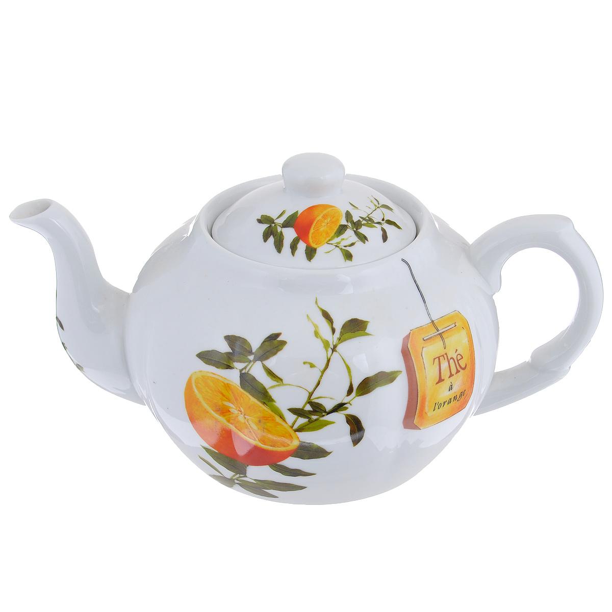 Чайник заварочный Larange Апельсин, 1 л586-242Чайник Larange Апельсин выполнен из высококачественного фарфора. Чайник декорирован изображением апельсинов. Чайник Larange Апельсин предназначен для заваривания чая. Элегантный дизайн и совершенные формы чайника привлекут к себе внимание и украсят интерьер вашей кухни. Чайник Larange Апельсин будет не только прекрасным украшением вашего стола, но и отличным подарком к любому празднику. Не использовать в микроволновой печи. Не применять абразивные чистящие вещества. Диаметр чайника по верхнему краю: 8,5 см. Высота чайника: 9,5 см. Диаметр дна чайника: 9 см. Длина чайника (с учетом ручки и носика): 23 см.