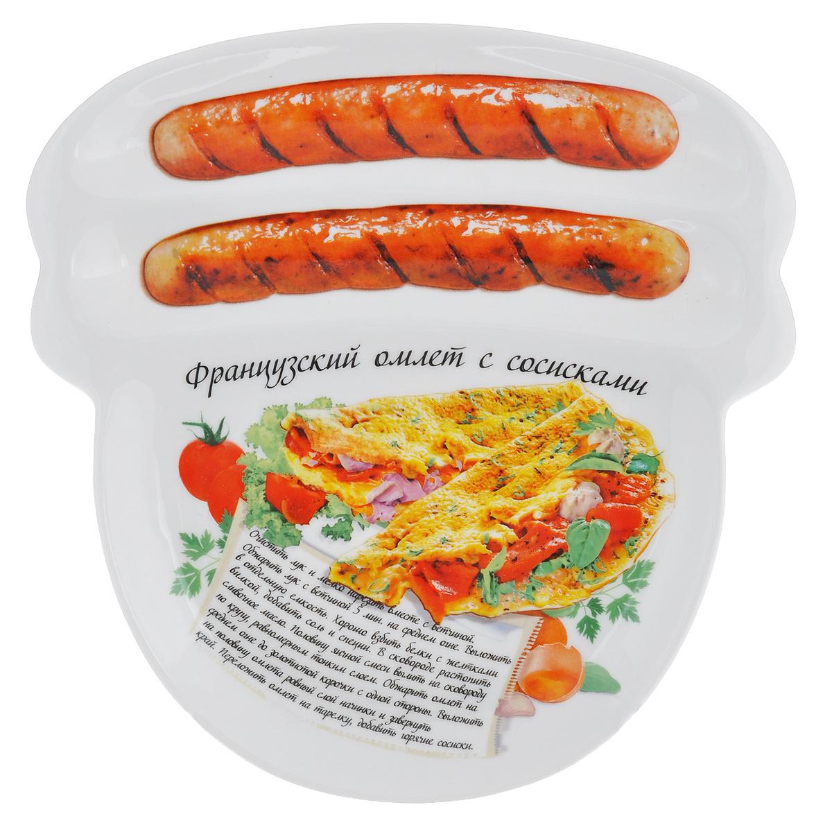 Блюдо для сосисок Larangе Французский омлет с сосисками, 23 см х 22,7 см х 1,6 см598-079Блюдо для сосисок Larange Французский омлет с сосисками изготовлено из высококачественной керамики. Изделие украшено изображением двух сосисок и рецепта французского омлета с сосисками. Тарелка имеет три отделения: два маленьких отделения для сосисок и одно большое отделение для яичницы или другого блюда. В комплект входят лучшие рецепты от шефа. Можно использовать в СВЧ печах, духовом шкафу, холодильнике. Можно мыть в посудомоечной машине. Не применять абразивные чистящие вещества.