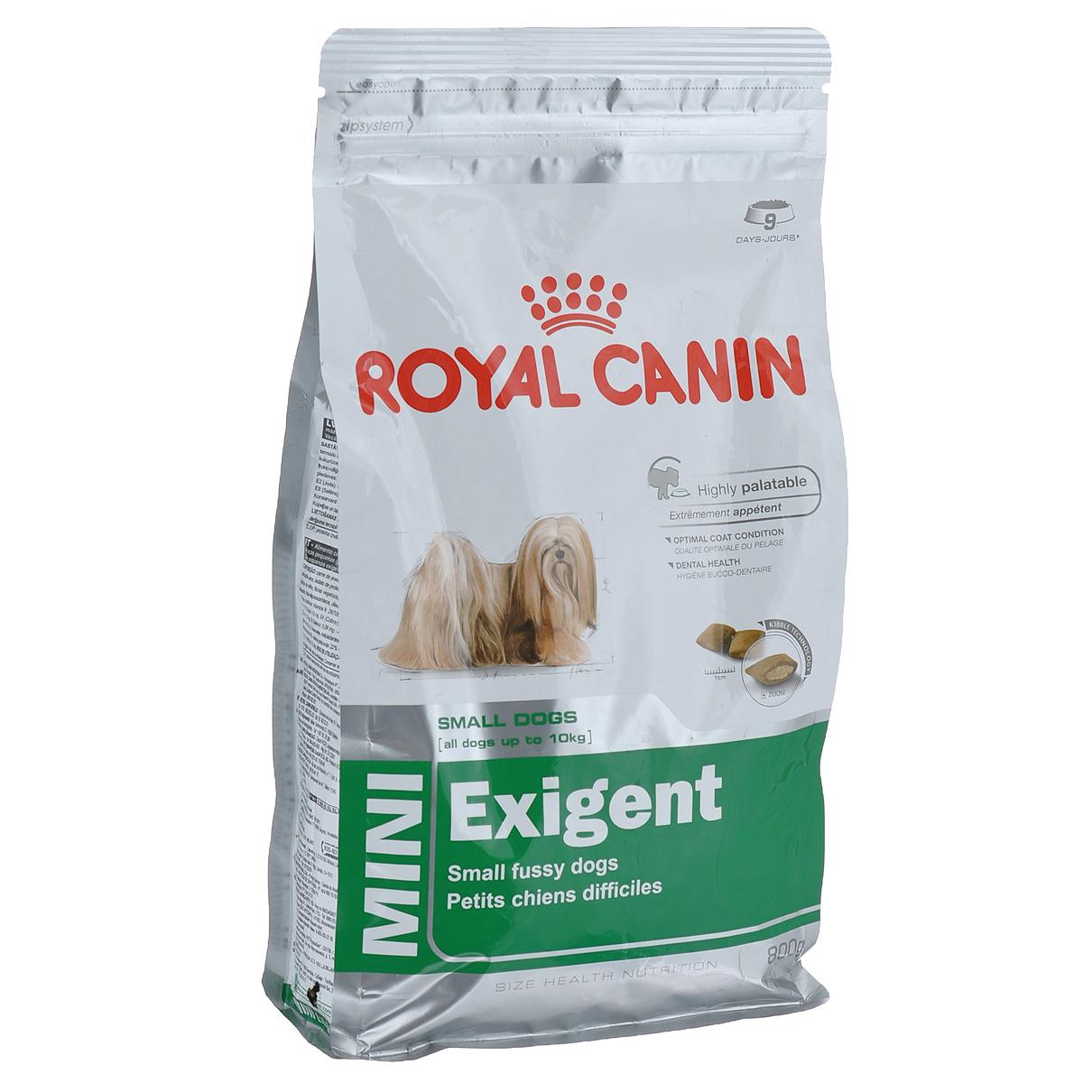 Корм сухой Royal Canin Mini Exigent, для собак мелких пород, привередливых в питании, 800 г313008Полнорационный сухой корм Royal Canin Mini Exigent для подходит собакам мелких размеров (вес взрослой собаки до 10 кг) старше 10 месяцев. Специальная технология изготовления крокет сочетает 2 вида текстур (хрустящую и мягкую), а также уникальные вкусовые добавки, что придется по вкусу даже самым привередливым собакам мелких размеров. Корм питает шерсть благодаря включению в состав корма серосодержащих аминокислот (метионин и цистин), жирных кислот Омега 6 и витамина А. Помогает замедлить образование зубного налета благодаря полифосфату натрия, который связывает кальций, содержащийся в слюне. Состав: дегидратированное мясо птицы, животные жиры, предварительно обработанная пшеничная мука, рис, изолят растительных белков L.I.P., гидролизат белков животного происхождения, кукурузная мука, растительная клетчатка, свекольный жом, рыбий жир, минеральные вещества, фруктоолигосахариды, масло огуречника аптечного 0,1%. Добавки в 1 кг: витамин А 29700 МЕ, витамин D3 800 МЕ,...