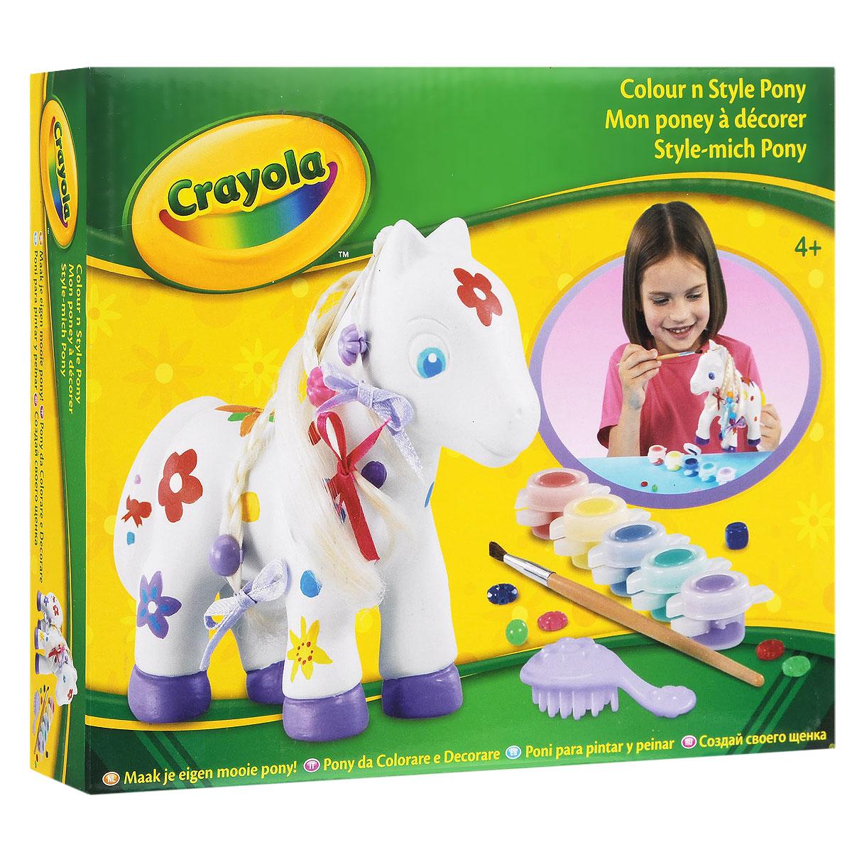 Набор для раскрашивания Crayola Пони93010(10158)Набор для раскрашивания Crayola Пони позволит вашему ребенку создать яркую фигурку собственными руками. В набор входит все необходимое: два элемента для сборки фигурки, грива, расческа, пять баночек с краской фиолетового, синего, зеленого, желтого и красного цветов, кисть, ленточка, лист с наклейками и шесть бусин, которыми можно украшать гриву лошадки. Ребенок сможет раскрасить пони по образцу на коробке или так, как подскажет ему фантазия. Набор для раскрашивания Crayola Пони поможет ребенку развить цветовое восприятие, проявить свой талант и раскрыть творческие способности. Также набор формирует художественный вкус малыша, учит его рисовать не только на плоской поверхности, но и на объемных телах, что не раз понадобится ребенку в будущем. Он развивает мелкую моторику, навыки раскрашивания, а также учит добру и заботе, ответственности и аккуратности. Раскрашивать стоит вместе с родителями, ведь именно им можно задать тысячу и один вопрос о том, кто такие пони, чем...