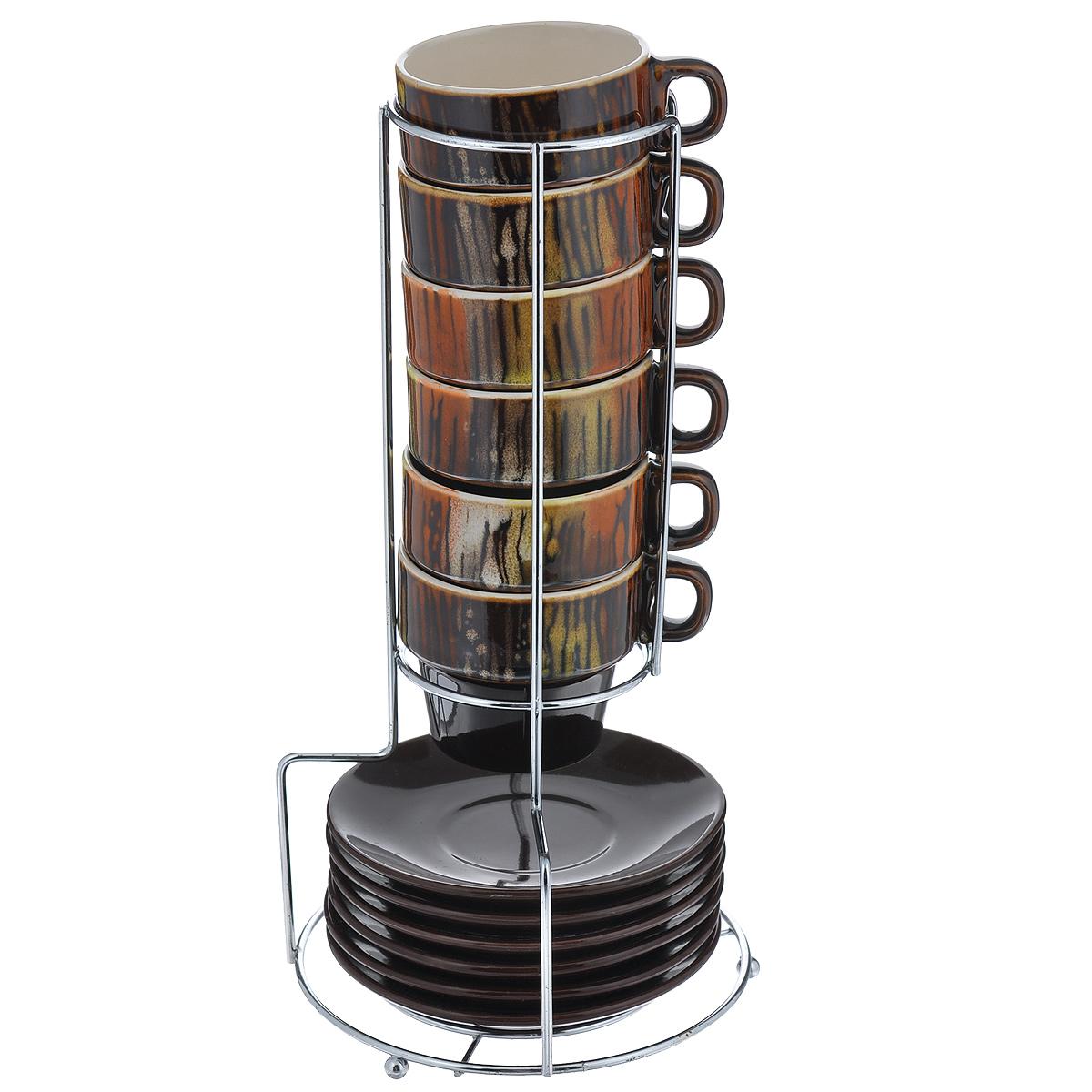 Набор кофейный Bekker Koch, цвет: коричневый, 13 предметов. 6807BK-6807Набор кофейный Bekker Koch изготовлен из жаропрочной керамики. В набор входит: шесть чашек, шесть блюдец и одна подставка. Оригинальная подставка изготовлена из металла . Кофейный набор на подставке не займет много места. Набор кофейный Bekker Koch украсит ваш праздничный стол и порадует вас и ваших гостей необычным дизайном и изящными формами. Набор станет чудесным подарком к любому случаю. Можно мыть в посудомоечной машине. Диаметр чашки: 6,5 см. Высота чашки: 6 см. Диаметр блюдца: 11 см. Объем чашки: 90 мл. Размер подставки: 7,5 см х 13 см х 26,5 см.