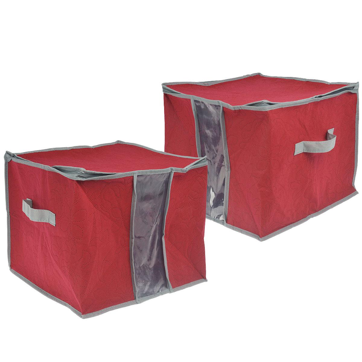 Кофр для хранения Hausmann, цвет: малиновый, 36 см х 36 см х 30 см, 2 шт4C-202Кофр для хранения Hausmann изготовлен из высококачественного нетканого материала, который позволяет сохранять естественную вентиляцию, а воздуху свободно проникать внутрь, не пропуская пыль. Прозрачная полиэтиленовая вставка позволит вам без труда определить содержимое кофра. Благодаря специальным вставкам, кофр прекрасно держит форму, а эстетичный дизайн гармонично смотрится в любом интерьере. Мобильность конструкции обеспечивает складывание и раскладывание одним движением. Размер кофра (ДхШхВ): 36 см х 36 см х 30 см. Комплектация: 2 шт. Материал: нетканое волокно, вискоза.