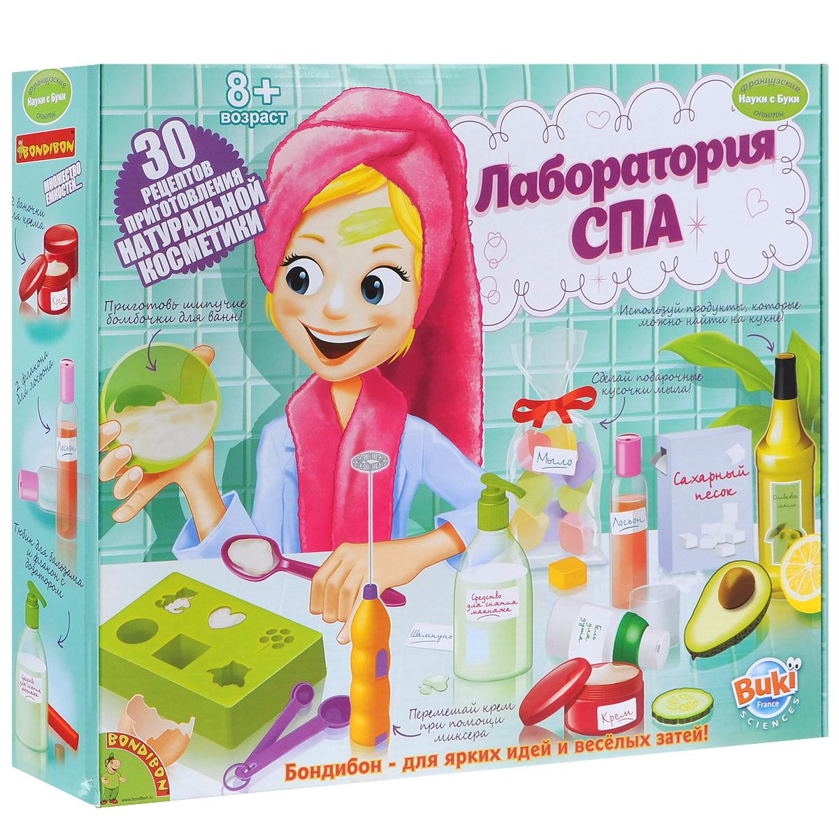 Научно-познавательный набор Bondibon Лаборатория СПАВВ1051Набор Bondibon Лаборатория СПА - 30 рецептов приготовления натуральной косметики - это просто клад для юной барышни, которая учится ухаживать за своим телом, волосами и лицом! Как приготовить шампунь из яиц, как сделать подарочные варианты красивого и вкусного мыла, как приготовить из продуктов, которые есть на кухне, отличный крем, как создать самостоятельно шипучие бомбочки для ванн, средство для снятия макияжа или гель для душа и многое - многое другое - всему этому научит Лаборатория СПА. Ваши милые девочки останутся довольными, чистыми и вкусно пахнущими… В набор входят: 1 миксер, 1 флакон с дозатором, воронка, миска, 2 баночки по 30 мл., пипетка, 20 наклеек, силиконовая форма, шпатель, пищевая сода 50 гр., 3 мерных ложки, тюбик для бальзама, 10 ленточек и 10 пакетиков, мыло 150 гр., 2 пары перчаток, 2 вакуумных флакона по 50 мл., 2 бутылочки по 60 мл., 2 флакона для шампуня по 60 мл., лимонная кислота 20 гр., пошаговая иллюстрированная...