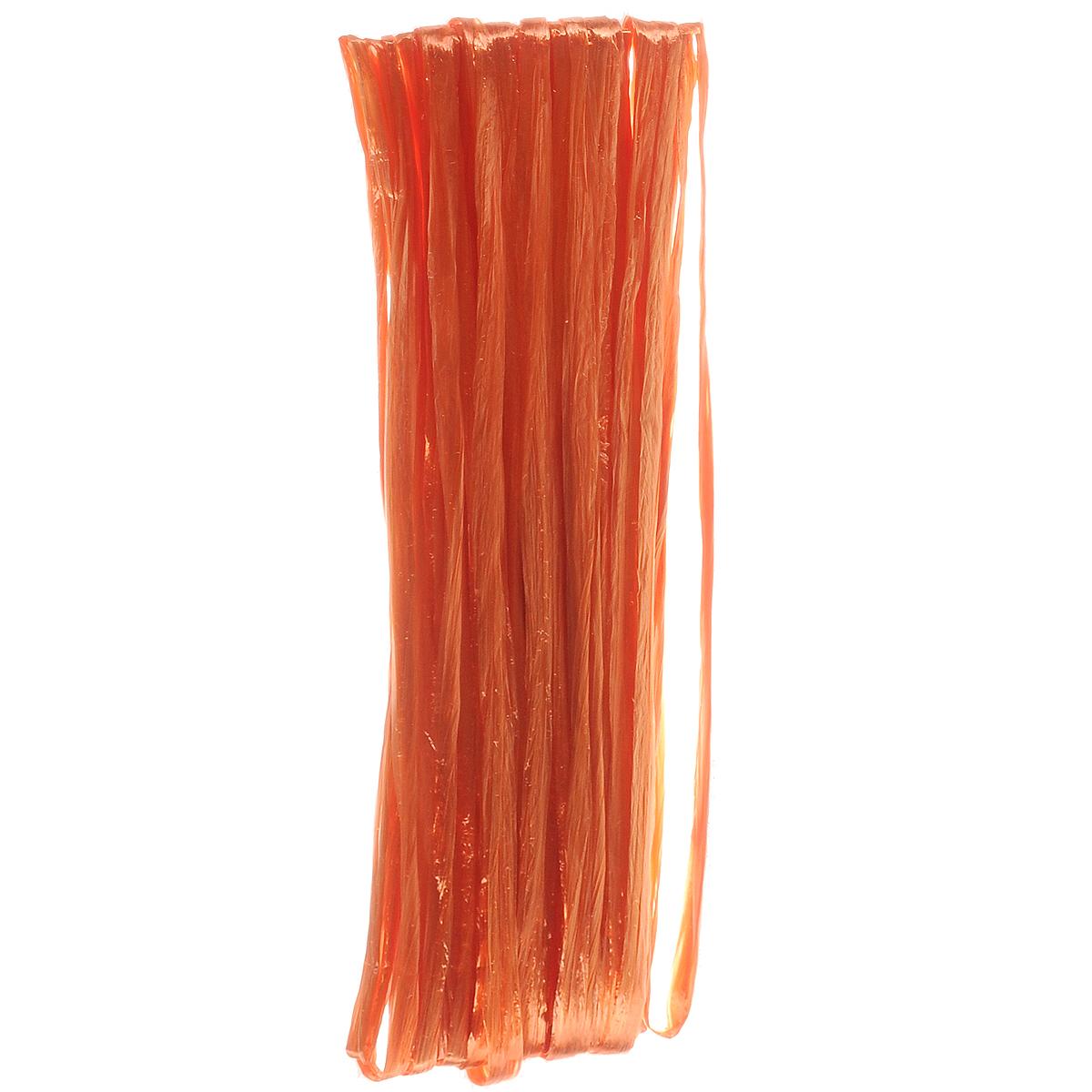 Рафия Hobby Time, цвет: оранжевый (443), длина 20 м318260Рафия Hobby Time, изготовленная из бумаги, широко применяется для упаковки подарков, оформления цветочных композиций. Бумажная рафия так же подойдет и в декоре работ в стиле скрапбукинг. Из нее можно изготовить оригинальные цветочные композиции. Расправьте рафию и вы получите широкую бумажную и мягкую ленту. Рукодельницы используют рафию вместо бумаги или в качестве декоративных лент для упаковки подарков. Например, окрашенную в разные цвета, рафию можно использовать в качестве ленты для украшения подарочных коробочек.
