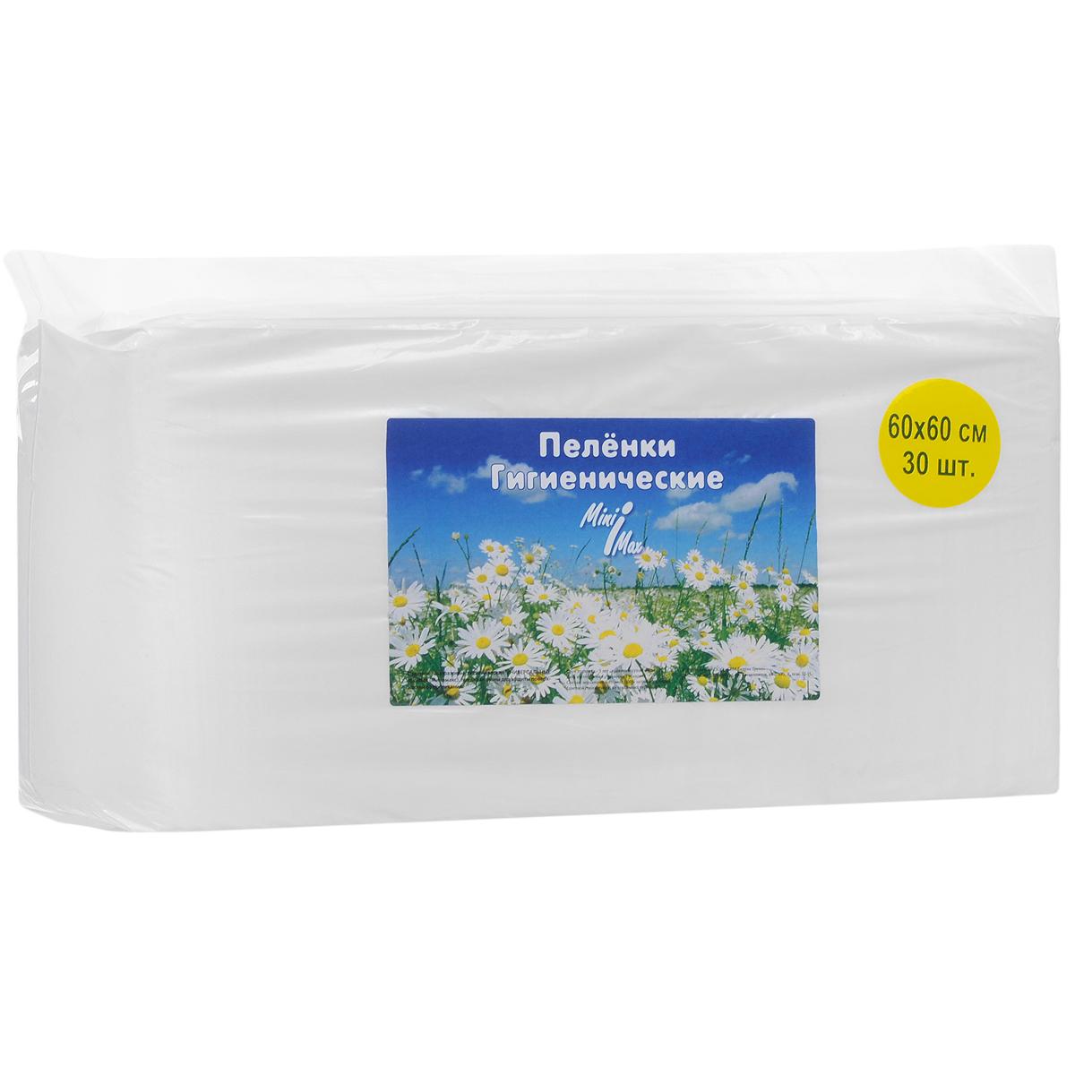 Гигиенические пеленки MiniMax, универсальные, 60 см x 60 см, 30 шт88013Универсальные гигиенические пеленки MiniMax предназначены для дополнительной защиты постельного белья, кроваток, колясок и пеленальных столиков, для ухода за домашними животными и для проведения других гигиенических и медицинских процедур. Поверхность пеленок изготовлена из нетканого гипоаллергенного материала, позволяющего сохранить кожу сухой и чистой, а также избежать возникновения раздражения. Внутренняя впитывающая часть изготовлена из распушенной целлюлозы, отлично впитывающей влагу и надежно удерживающей ее внутри. Пеленки можно стирать. С пеленками MiniMax вам будет комфортно в любой ситуации. В комплект входят 30 пеленок. Материал: нетканое полотно, распущенная целлюлоза.