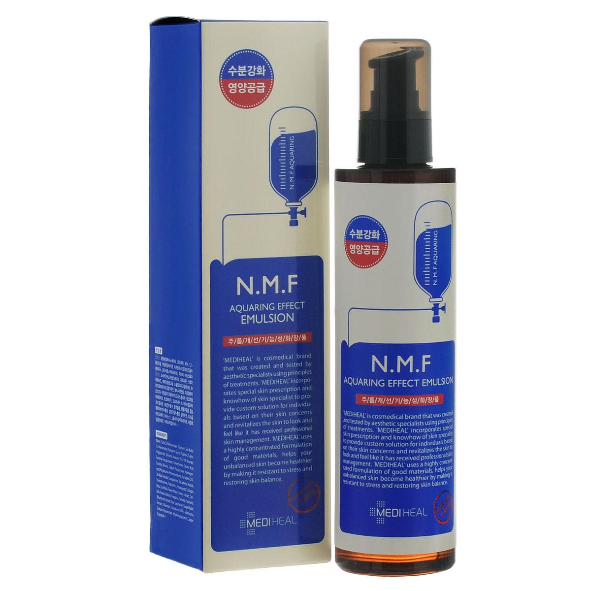 Beauty Clinic Эмульсия для лица Aquaring Effect, с N.M.F., увлажняющая, 145 мл555845Эмульсия содержит N.M.F. и другие активные увлажняющие и подтягивающие компоненты, такие как глубинная морская вода, гиалуроновая кислота, экстракты древесного гриба, сахарного клена, меда, центеллы азиатской. Интенсивно увлажняет, подтягивает и питает кожу, придает ей свежий вид. Способствует разглаживанию морщин. NMF (натуральный увлажняющий фактор) - это сложный комплекс молекул в роговом слое кожи, который способен притягивать и удерживать влагу, обеспечивать упругость и плотность рогового слоя кожи. В состав NMF входят низкомолекулярные пептиды, карбамид, пирролидонкарбоновая кислота, аминокислоты и т. д. При недостаточности увлажняющего фактора происходит обезвоживание эпидермиса. Глубинная морская вода содержит большое количество питательных веществ и 70 видов минералов, которые активно увлажняют кожу, придают ей здоровый вид, делают цвет кожи более естественным, выравнивают тон кожи. Экстракт клена сахарного ускоряет процесс обновления клеток,...