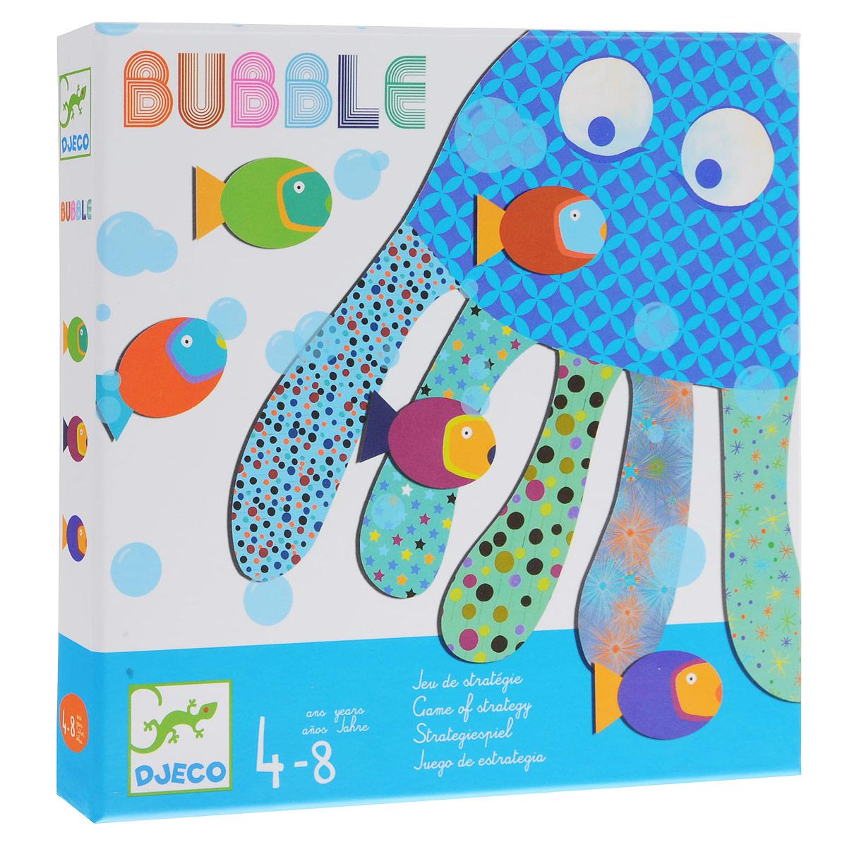 Настольная игра Djeco Пузыри08459Настольная игра Djeco Пузыри. Весёлая и забавная морская игра для любителей рыб. Цель игры – посадить пять рыб на своего осьминога по одной на каждую щупальцу. В процессе этой игры у Вашего малыша развивается внимательность, развивается мелкая моторика пальчиков рук, усидчивость. Очаровательная и познавательная игра для Вашего малыша