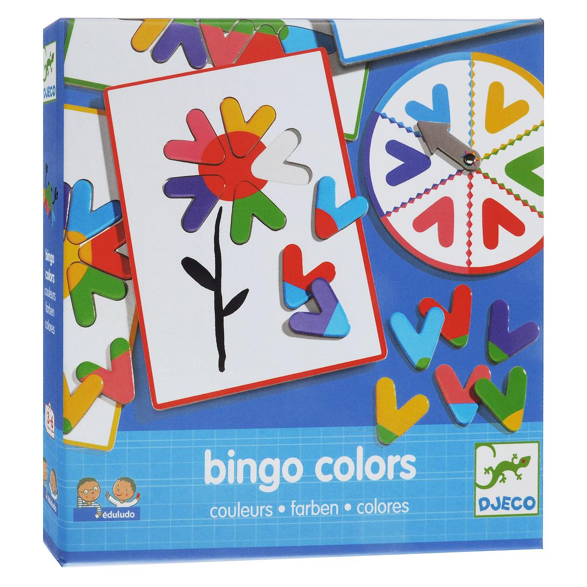 Настольная игра Djeco Eduludo Цвета Бинго08316Новая настольная игра Eduludo Цвета Бинго от Djeco Джеко – прекрасная возможность через игровую форму познакомить ребенка с основными цветами. Вращайте друг за другом колесо и сочетайте цвета в соответствии с рисунком на карточке. Выигрывает тот, кто последним соберет рисунок. Настольная игра Бинго прекрасно подойдет в качестве развлечения для любого детского праздника, а также для семейных спокойных вечеров. Игра Eduludo Цвета Бинго развивает логическое мышление, сообразительность и внимательность.