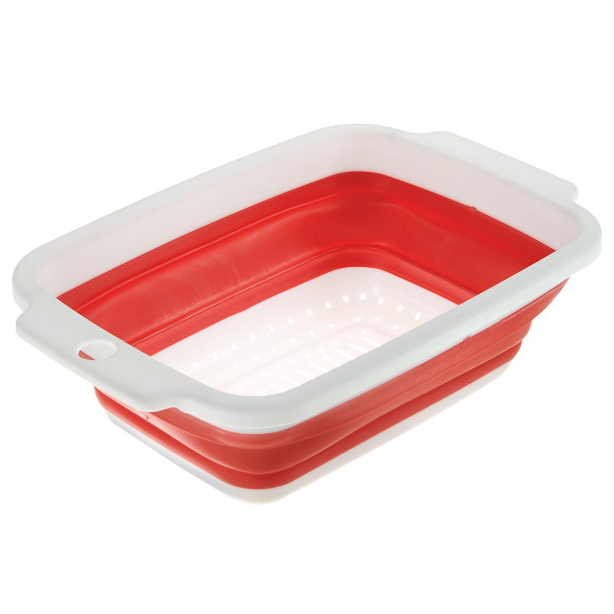 Дуршлаг складной Neo Way, цвет: белый, красный, 34 х 22 смOW102Складной дуршлаг Neo Way станет полезным приобретением для вашей кухни. Он изготовлен из высококачественного пищевого силикона и пластика. Прекрасно подходит для процеживания, ополаскивания и стекания макарон, овощей, фруктов. Дуршлаг компактно складывается, что делает его удобным для хранения. Можно мыть в посудомоечной машине.
