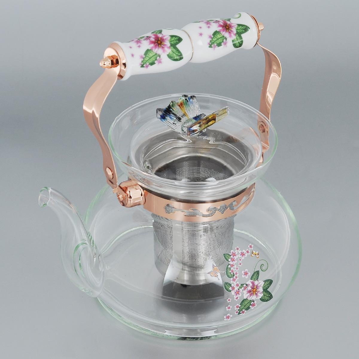 Чайник заварочный Bekker, цвет: розовые цветы, зеленые листья, 1 л. BK-7616BK-7616Заварочный чайник Bekker выполнен из жаростойкого стекла, которое хорошо удерживает тепло. Ручка и съемное ситечко внутри чайника выполнены из высококачественной нержавеющей стали. Высокая подвижная ручка чайника, снабженная фарфоровой насадкой, позволяет с легкостью удерживать его на весу. Съемное ситечко для заварки предотвращает попадание чаинок и листочков в настой. Заварочный чайник украшен изящным рисунком, что придает ему элегантность. Крышка декорирована красивой фигуркой бабочки. Заварочный чайник из стекла удобно использовать для повседневного заваривания чая практически любого сорта. Но цветочные, фруктовые, красные и желтые сорта чая лучше других раскрывают свой вкус и аромат при заваривании именно в стеклянных чайниках и сохраняют полезные ферменты и витамины, содержащиеся в чайных листах. Высота чайника: 12 см. Диаметр (по верхнему краю): 11 см. Диаметр основания: 16 см. Высота ситечка: 8,5 см.